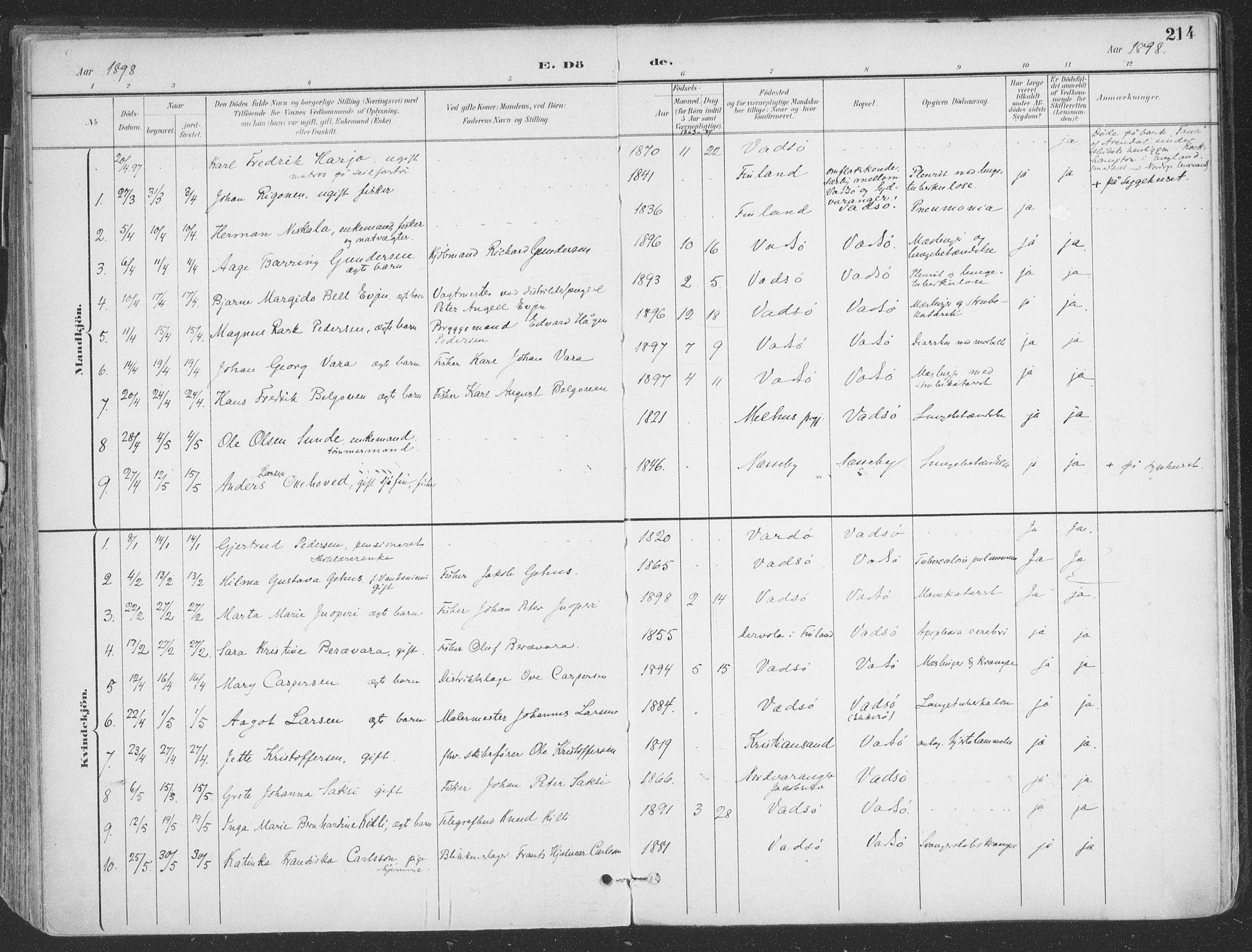 SATØ, Vadsø sokneprestkontor, H/Ha/L0007kirke: Ministerialbok nr. 7, 1896-1916, s. 214
