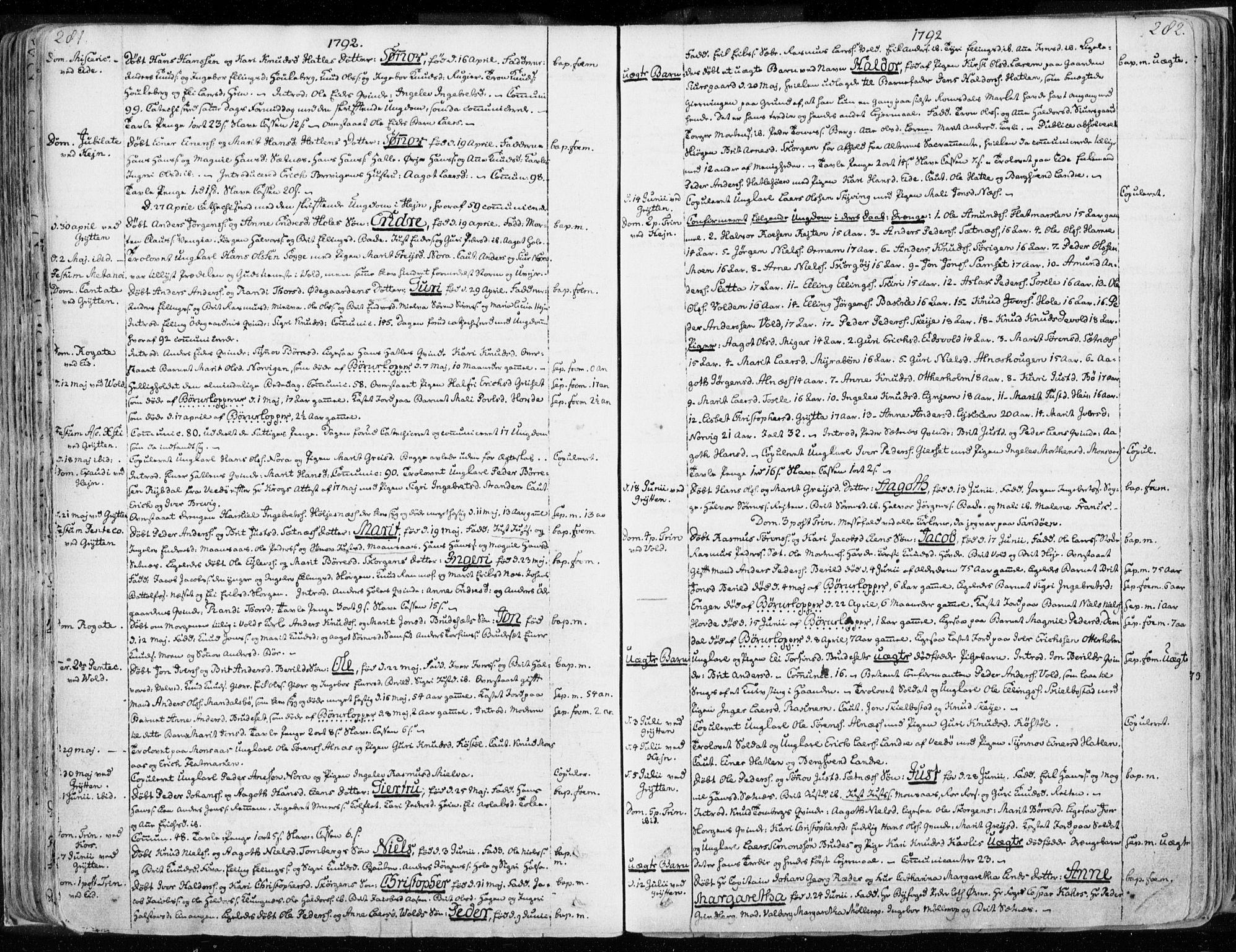 SAT, Ministerialprotokoller, klokkerbøker og fødselsregistre - Møre og Romsdal, 544/L0569: Ministerialbok nr. 544A02, 1764-1806, s. 281-282