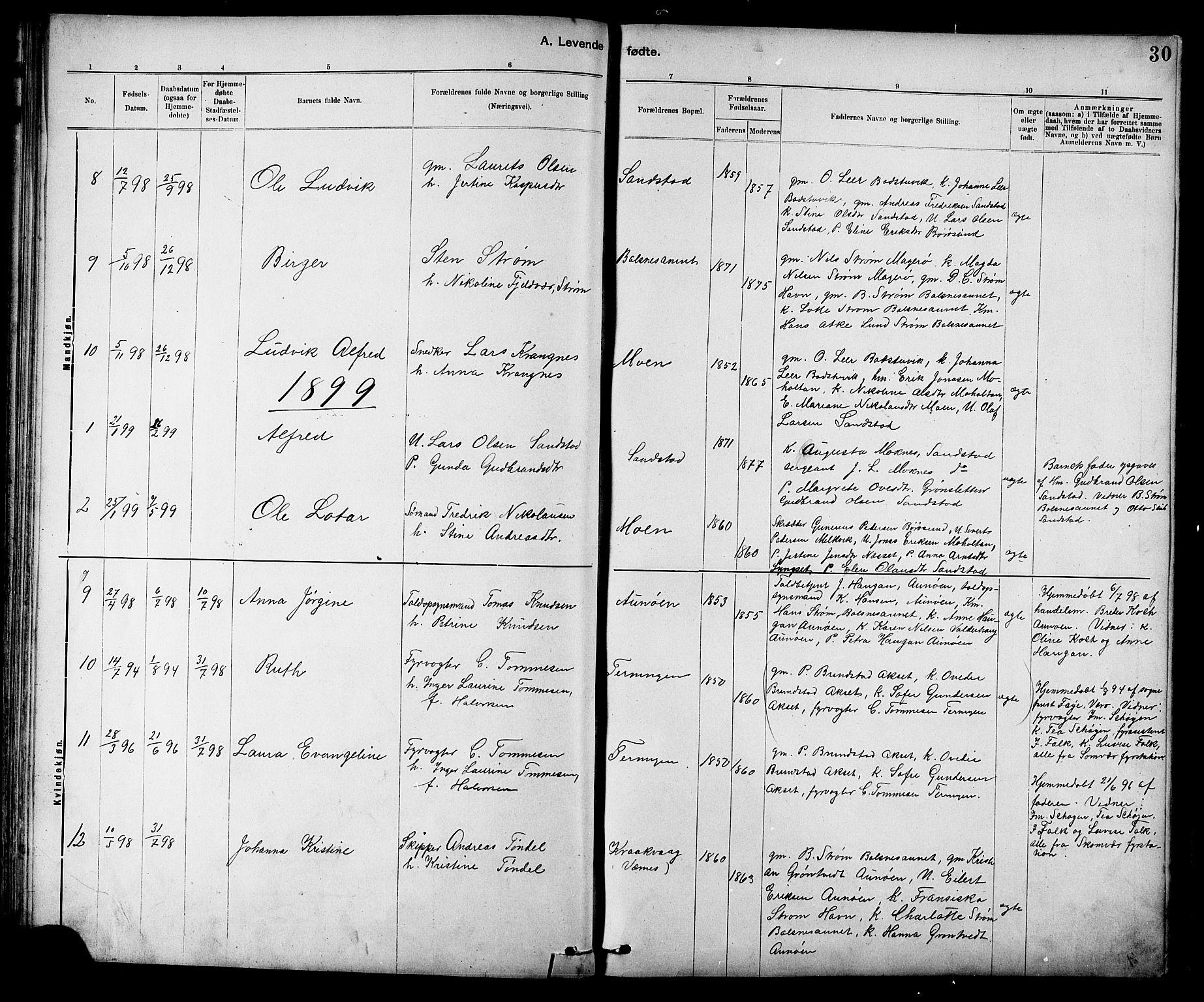 SAT, Ministerialprotokoller, klokkerbøker og fødselsregistre - Sør-Trøndelag, 639/L0573: Klokkerbok nr. 639C01, 1890-1905, s. 30