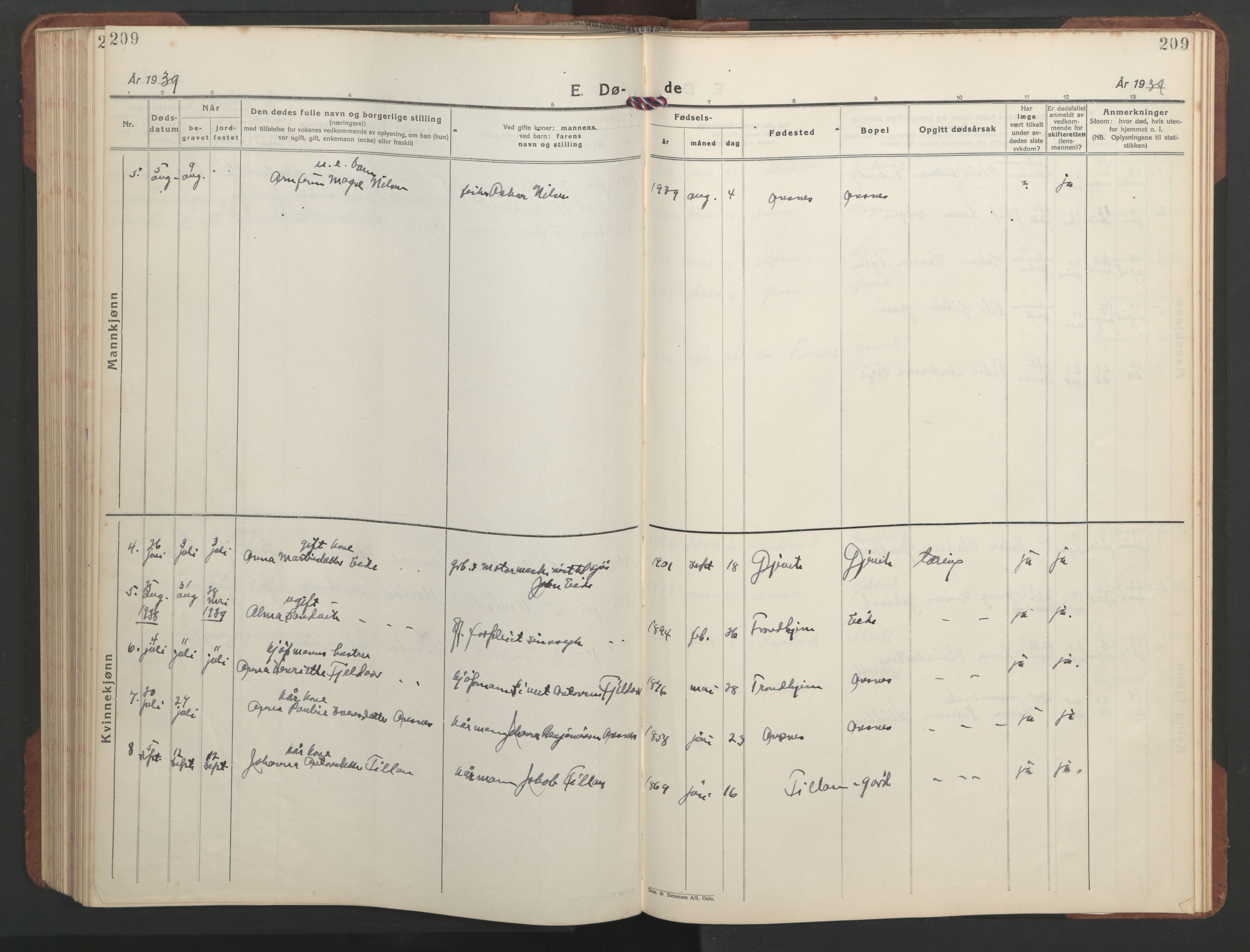 SAT, Ministerialprotokoller, klokkerbøker og fødselsregistre - Sør-Trøndelag, 637/L0564: Klokkerbok nr. 637C05, 1928-1968, s. 209
