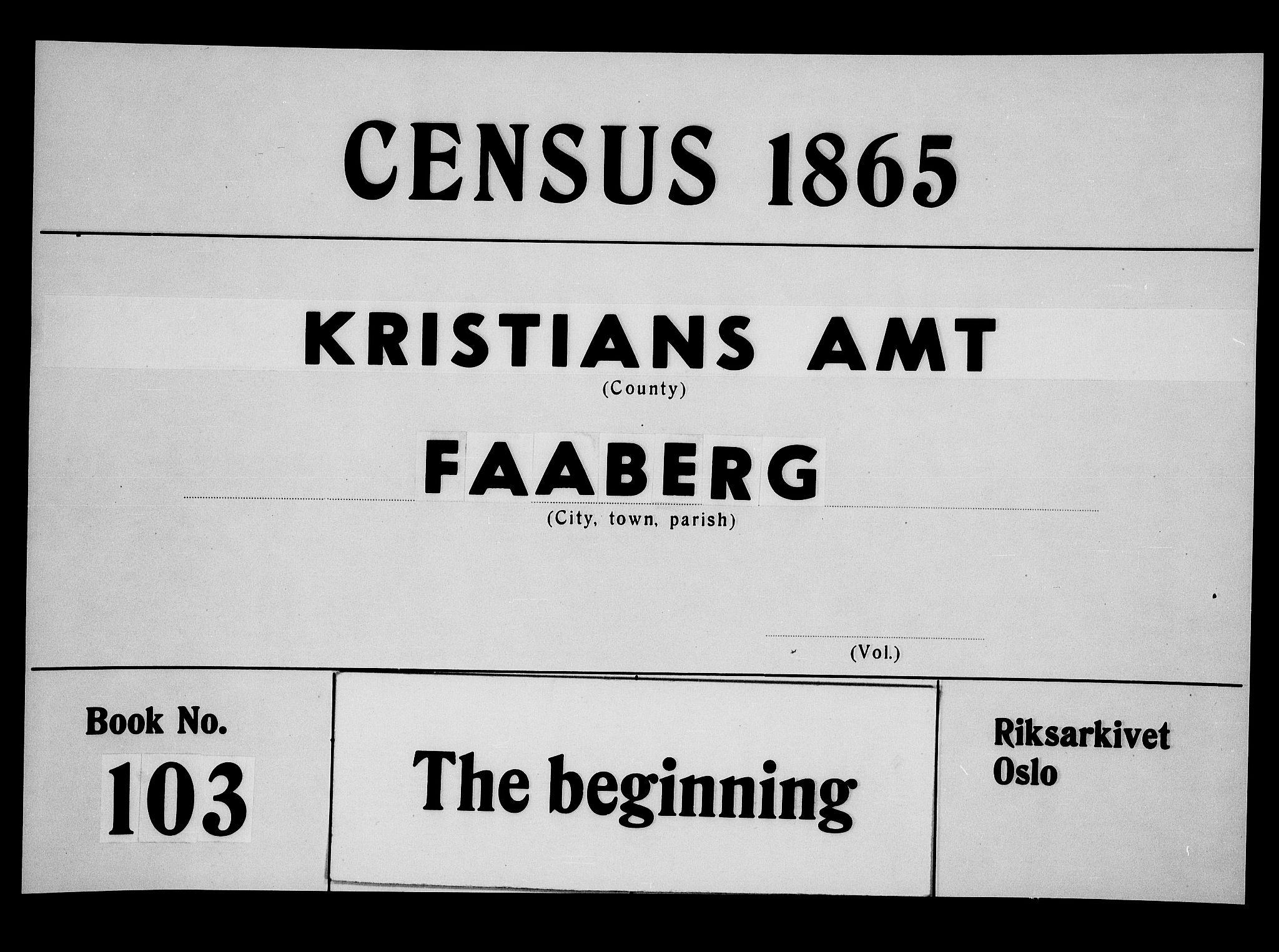 RA, Folketelling 1865 for 0524L Fåberg prestegjeld, Fåberg sokn og Lillehammer landsokn, 1865, s. 1