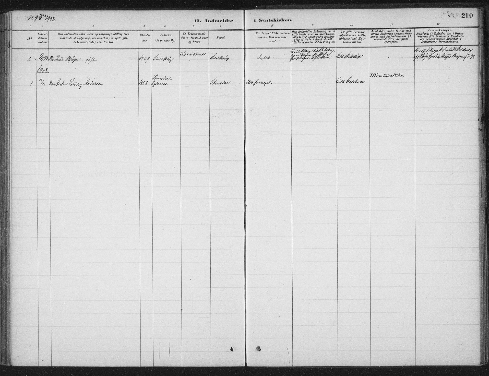 SAT, Ministerialprotokoller, klokkerbøker og fødselsregistre - Sør-Trøndelag, 662/L0755: Ministerialbok nr. 662A01, 1879-1905, s. 210