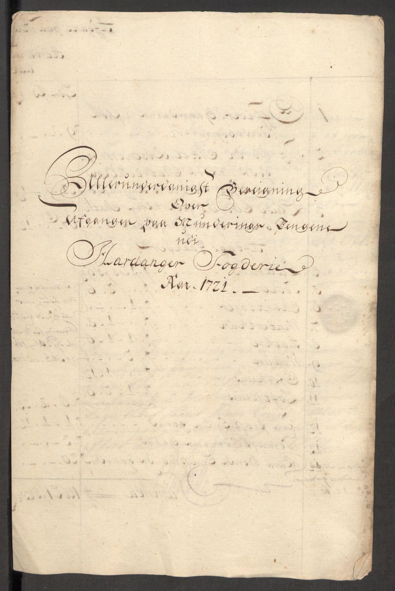 RA, Rentekammeret inntil 1814, Reviderte regnskaper, Fogderegnskap, R48/L3000: Fogderegnskap Sunnhordland og Hardanger, 1721, s. 382