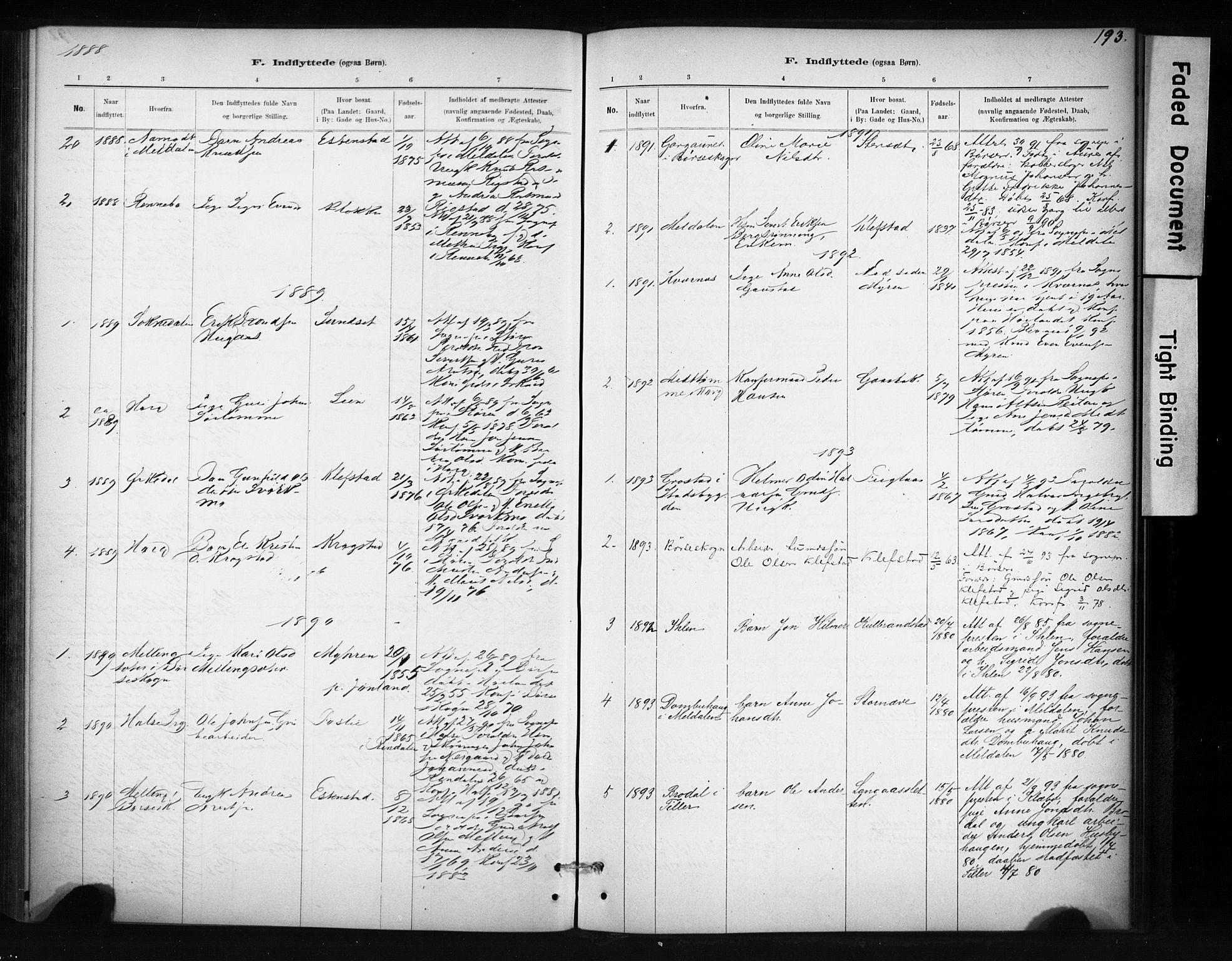 SAT, Ministerialprotokoller, klokkerbøker og fødselsregistre - Sør-Trøndelag, 694/L1127: Ministerialbok nr. 694A01, 1887-1905, s. 193