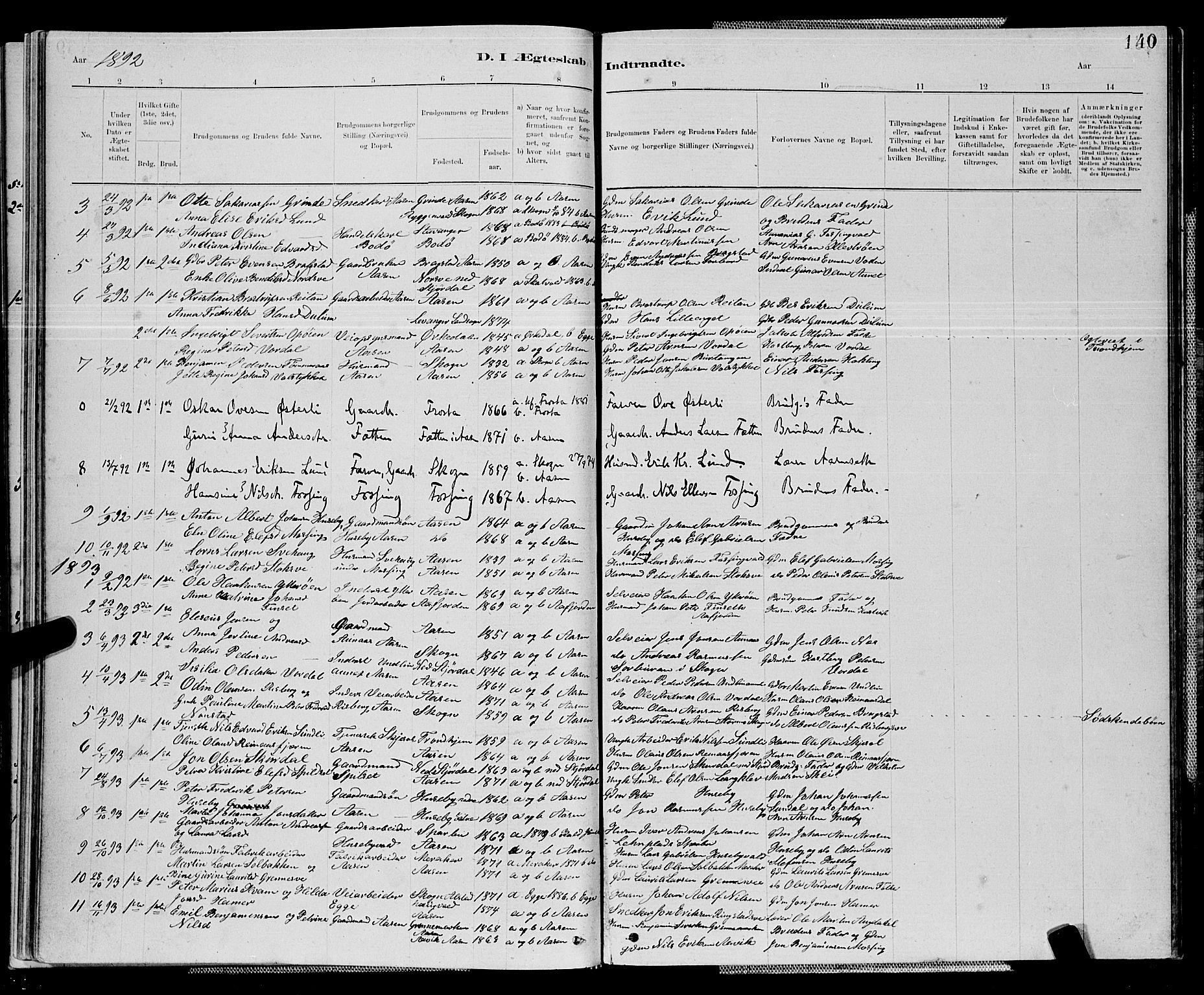SAT, Ministerialprotokoller, klokkerbøker og fødselsregistre - Nord-Trøndelag, 714/L0134: Klokkerbok nr. 714C03, 1878-1898, s. 140