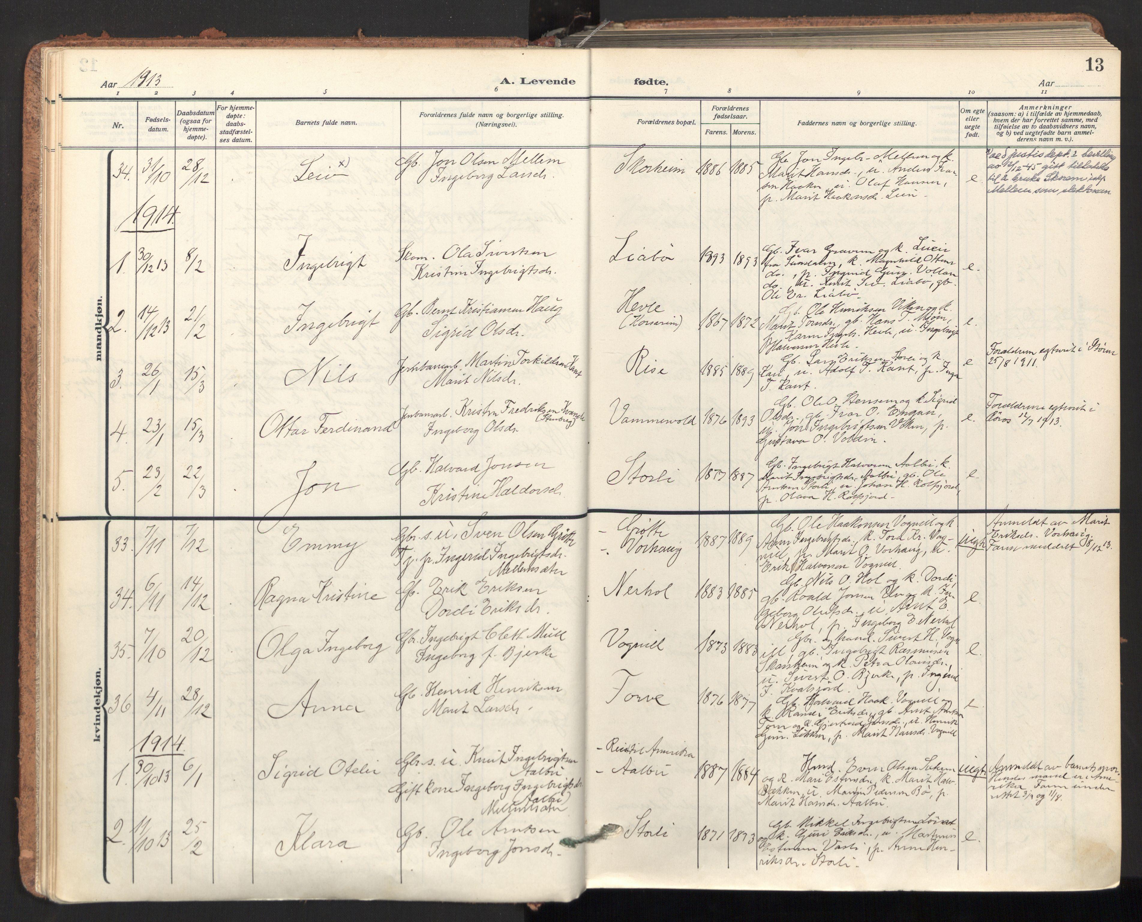 SAT, Ministerialprotokoller, klokkerbøker og fødselsregistre - Sør-Trøndelag, 678/L0909: Ministerialbok nr. 678A17, 1912-1930, s. 13