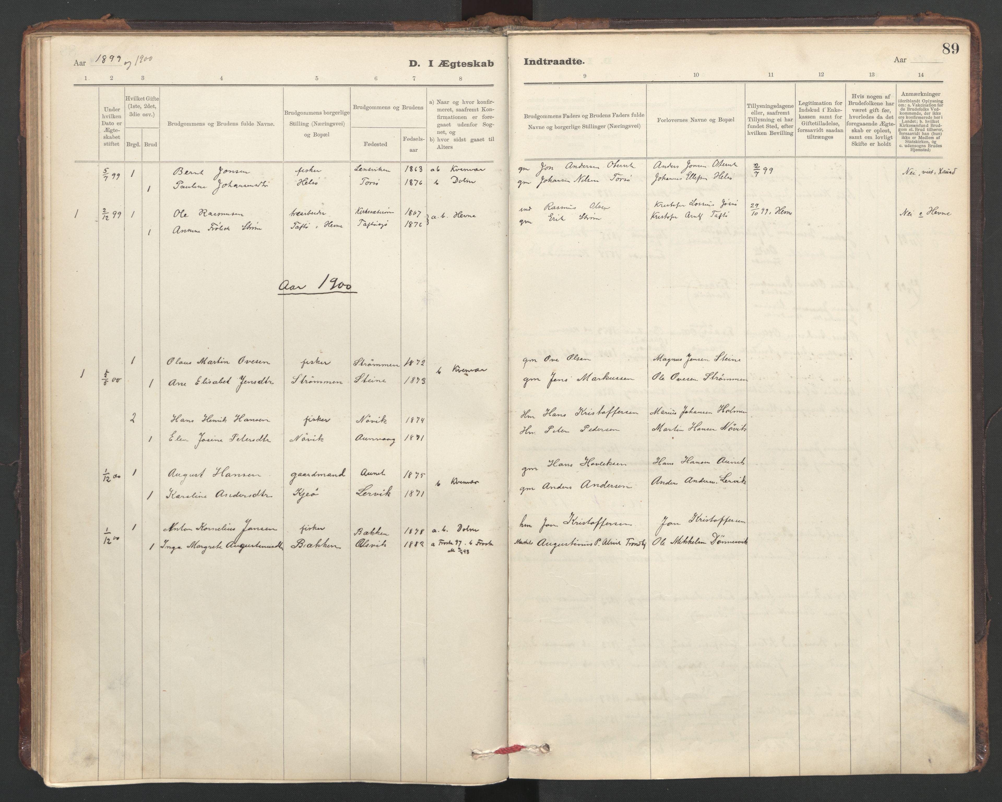 SAT, Ministerialprotokoller, klokkerbøker og fødselsregistre - Sør-Trøndelag, 635/L0552: Ministerialbok nr. 635A02, 1899-1919, s. 89