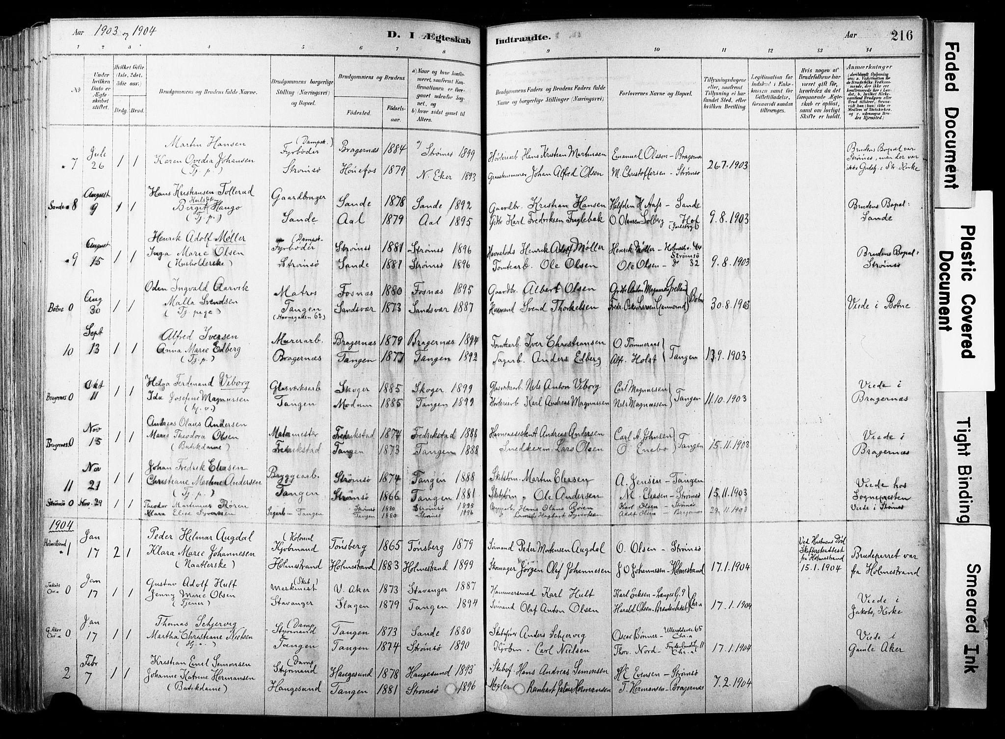 SAKO, Strømsø kirkebøker, F/Fb/L0006: Ministerialbok nr. II 6, 1879-1910, s. 216