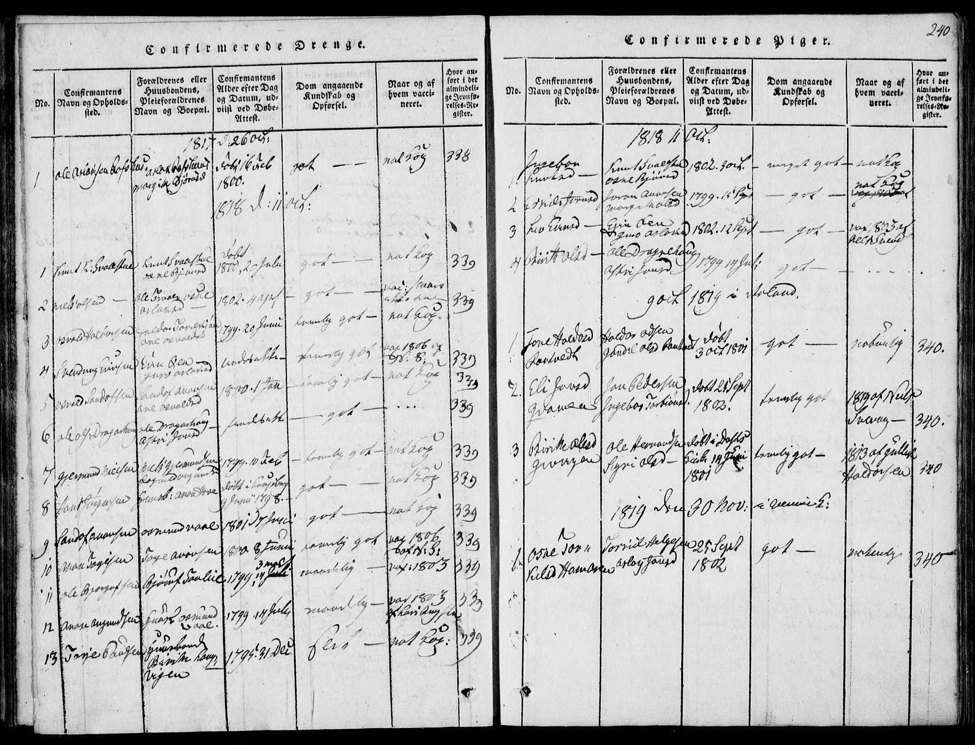 SAKO, Rauland kirkebøker, G/Ga/L0001: Klokkerbok nr. I 1, 1814-1843, s. 240