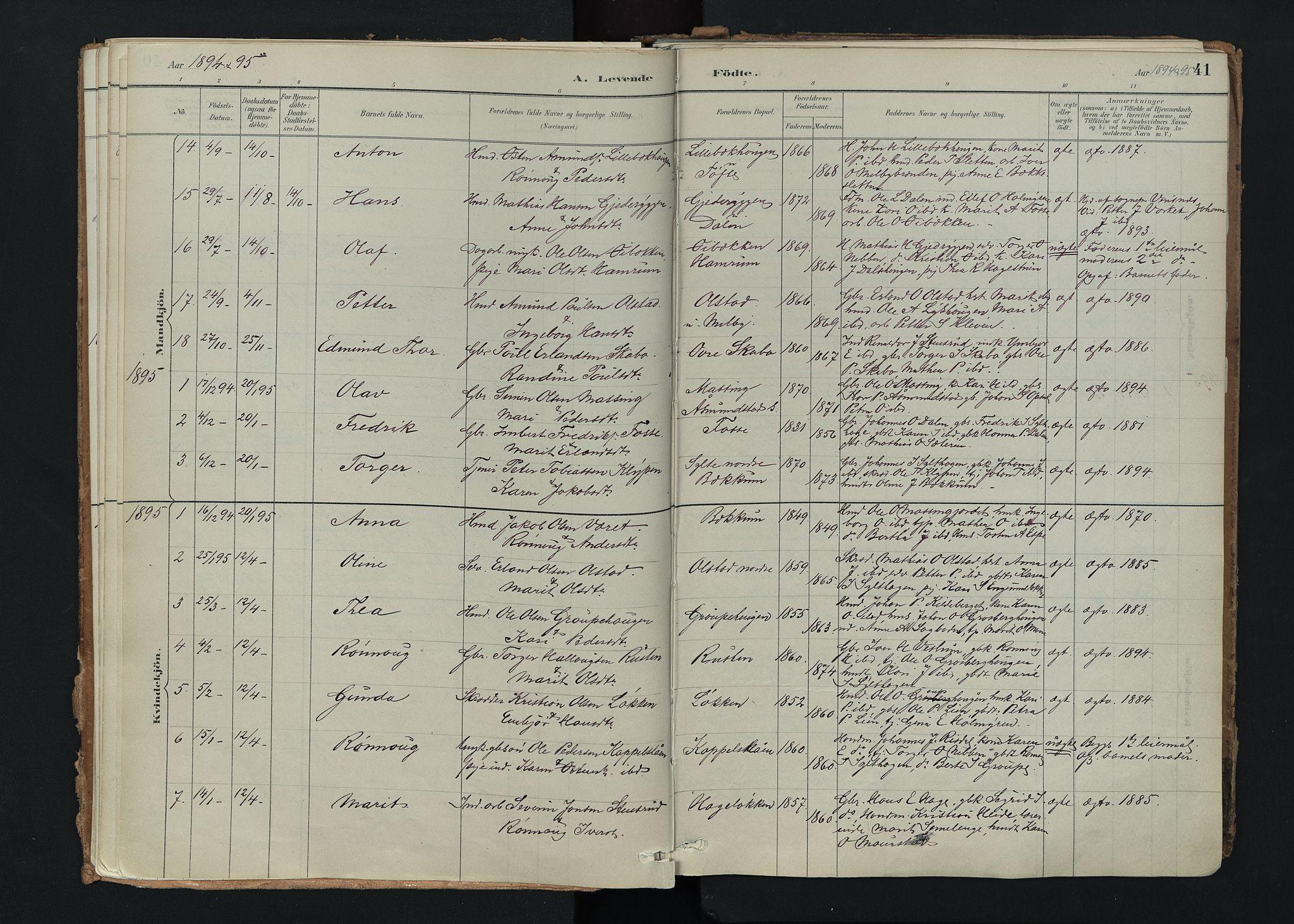 SAH, Nord-Fron prestekontor, Ministerialbok nr. 5, 1884-1914, s. 41