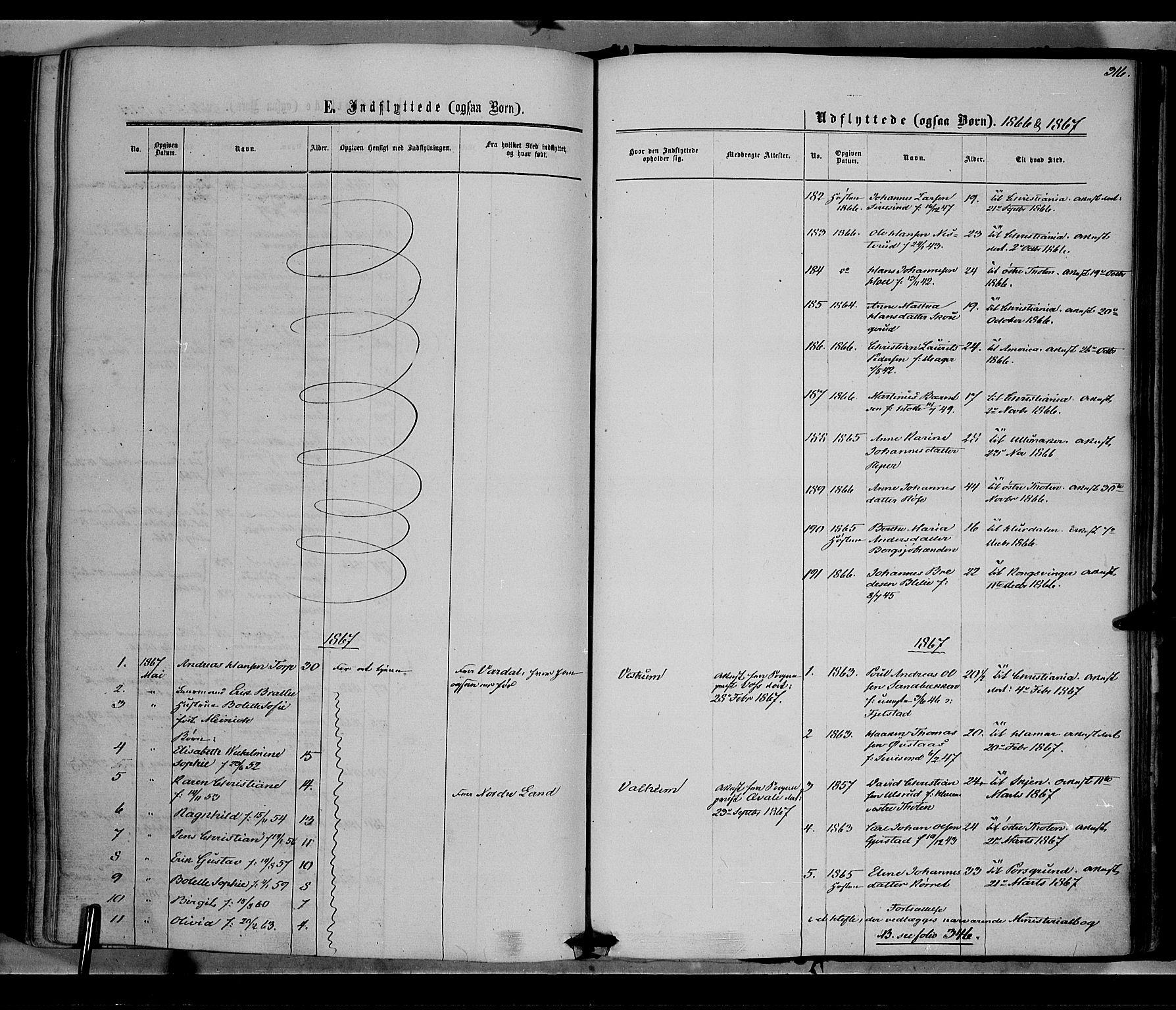 SAH, Vestre Toten prestekontor, Ministerialbok nr. 7, 1862-1869, s. 316