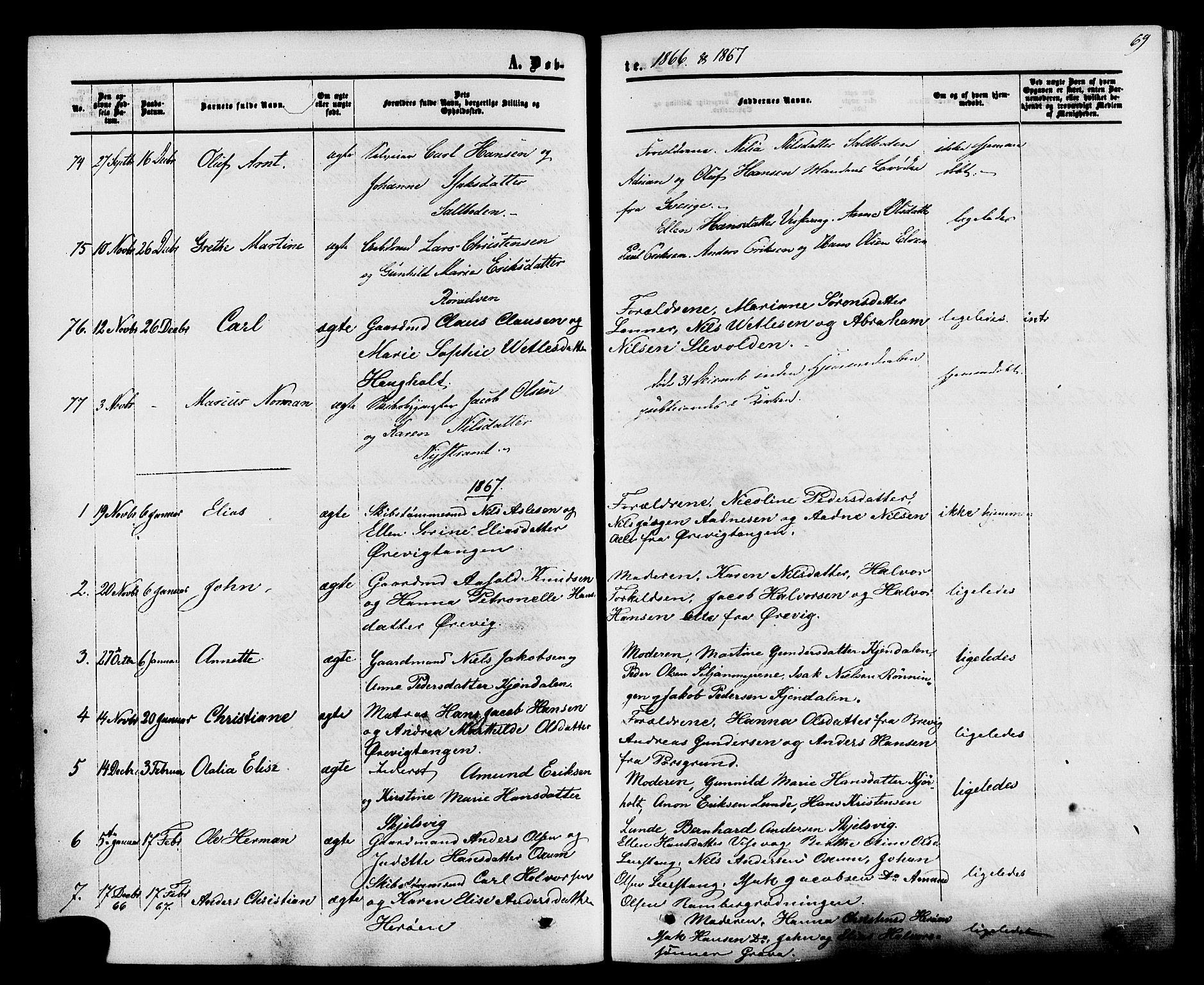 SAKO, Eidanger kirkebøker, F/Fa/L0010: Ministerialbok nr. 10, 1859-1874, s. 69