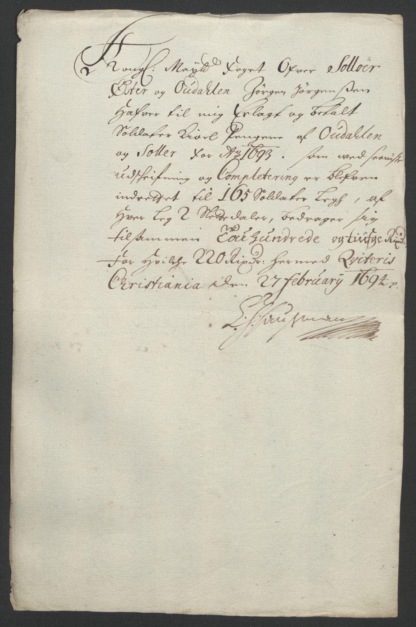 RA, Rentekammeret inntil 1814, Reviderte regnskaper, Fogderegnskap, R13/L0831: Fogderegnskap Solør, Odal og Østerdal, 1693, s. 251