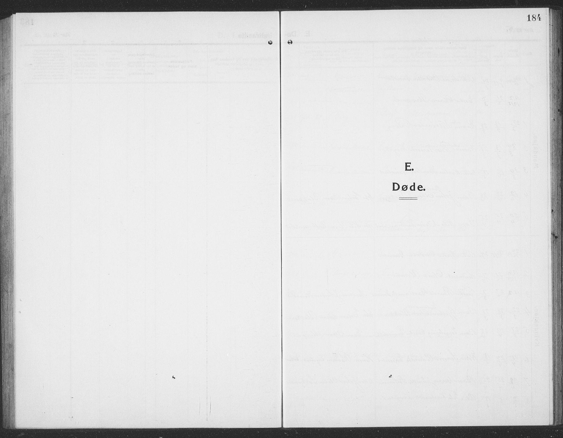 SAT, Ministerialprotokoller, klokkerbøker og fødselsregistre - Sør-Trøndelag, 694/L1134: Klokkerbok nr. 694C06, 1915-1937, s. 184
