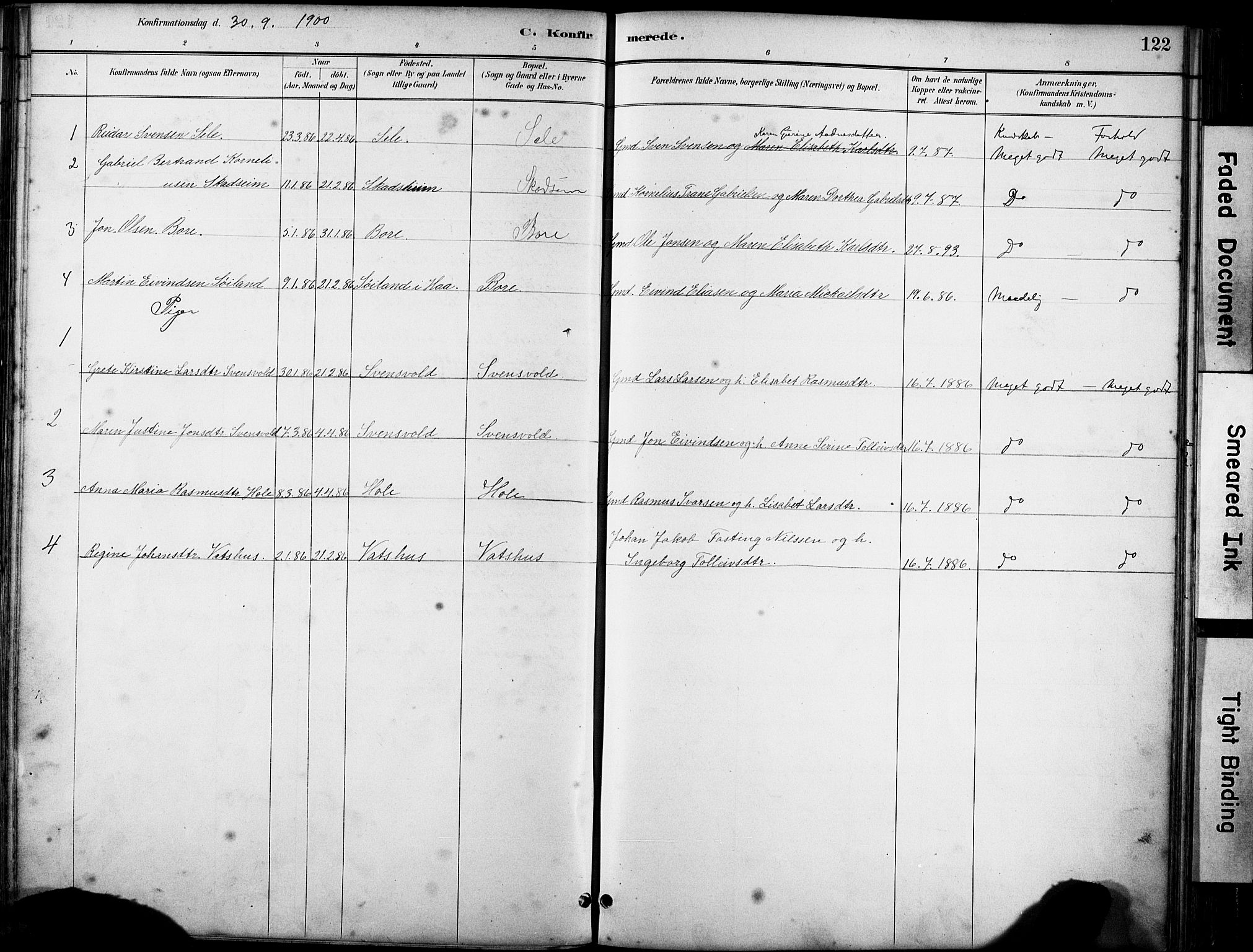 SAST, Klepp sokneprestkontor, 30BA/L0008: Ministerialbok nr. A 9, 1886-1919, s. 122