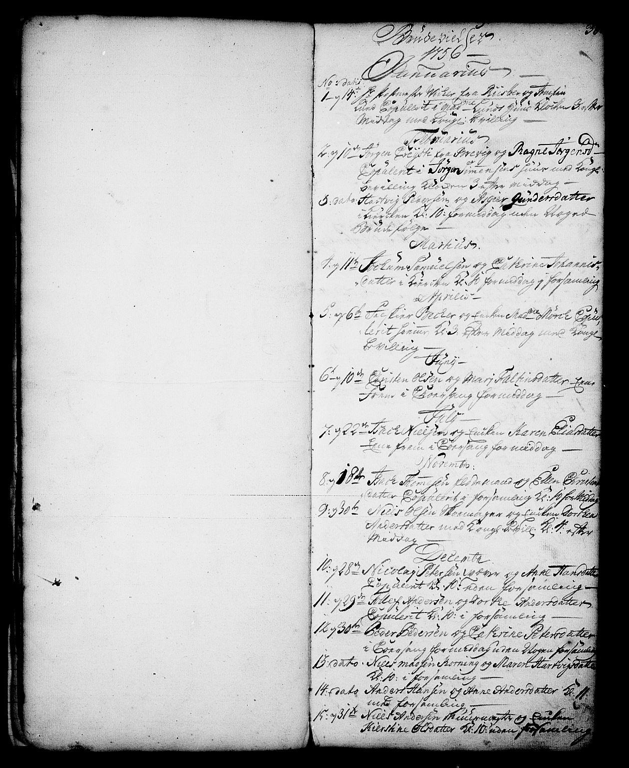 SAKO, Skien kirkebøker, G/Ga/L0001: Klokkerbok nr. 1, 1756-1791, s. 30