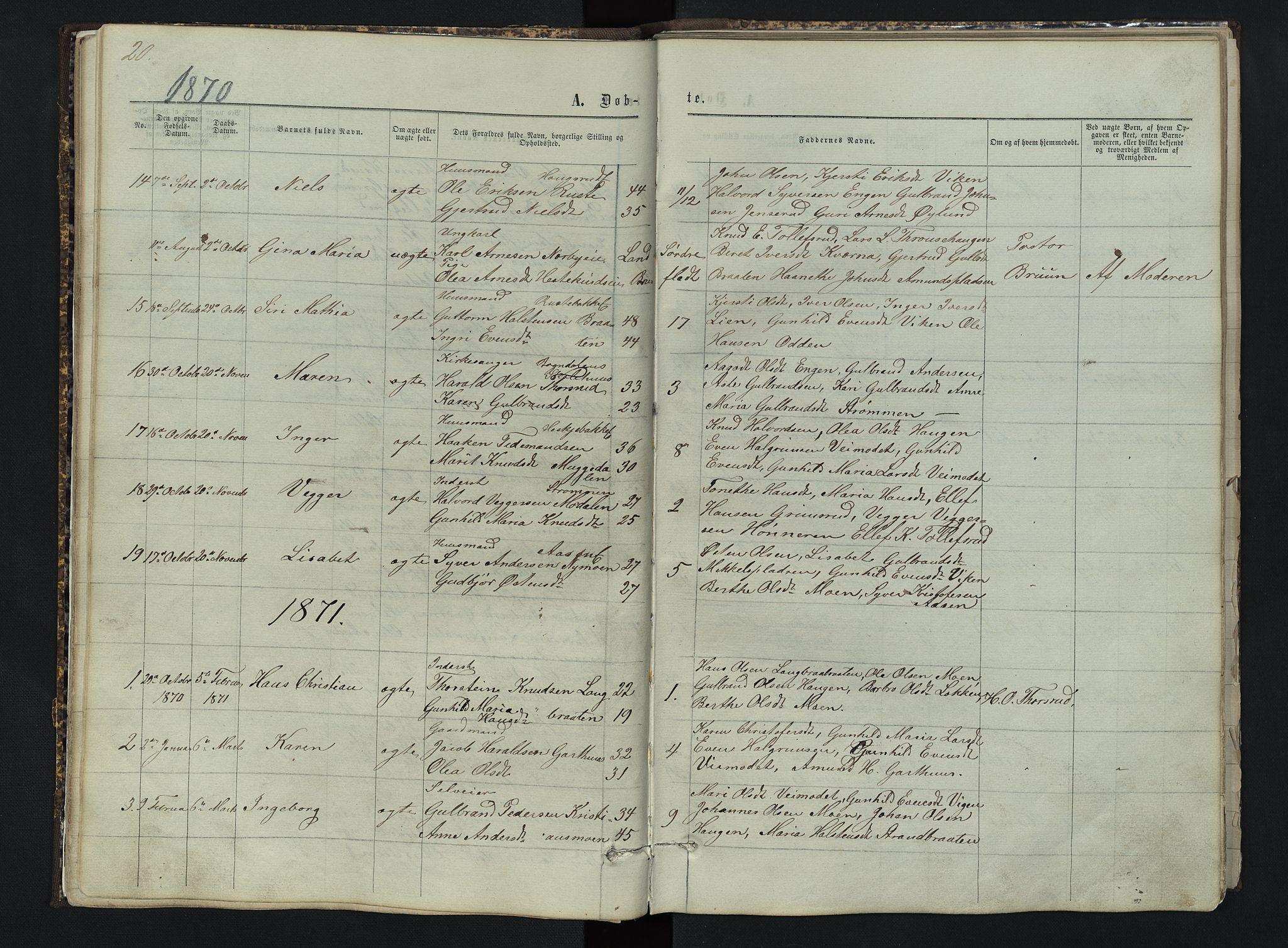 SAH, Sør-Aurdal prestekontor, Klokkerbok nr. 3, 1862-1893, s. 20