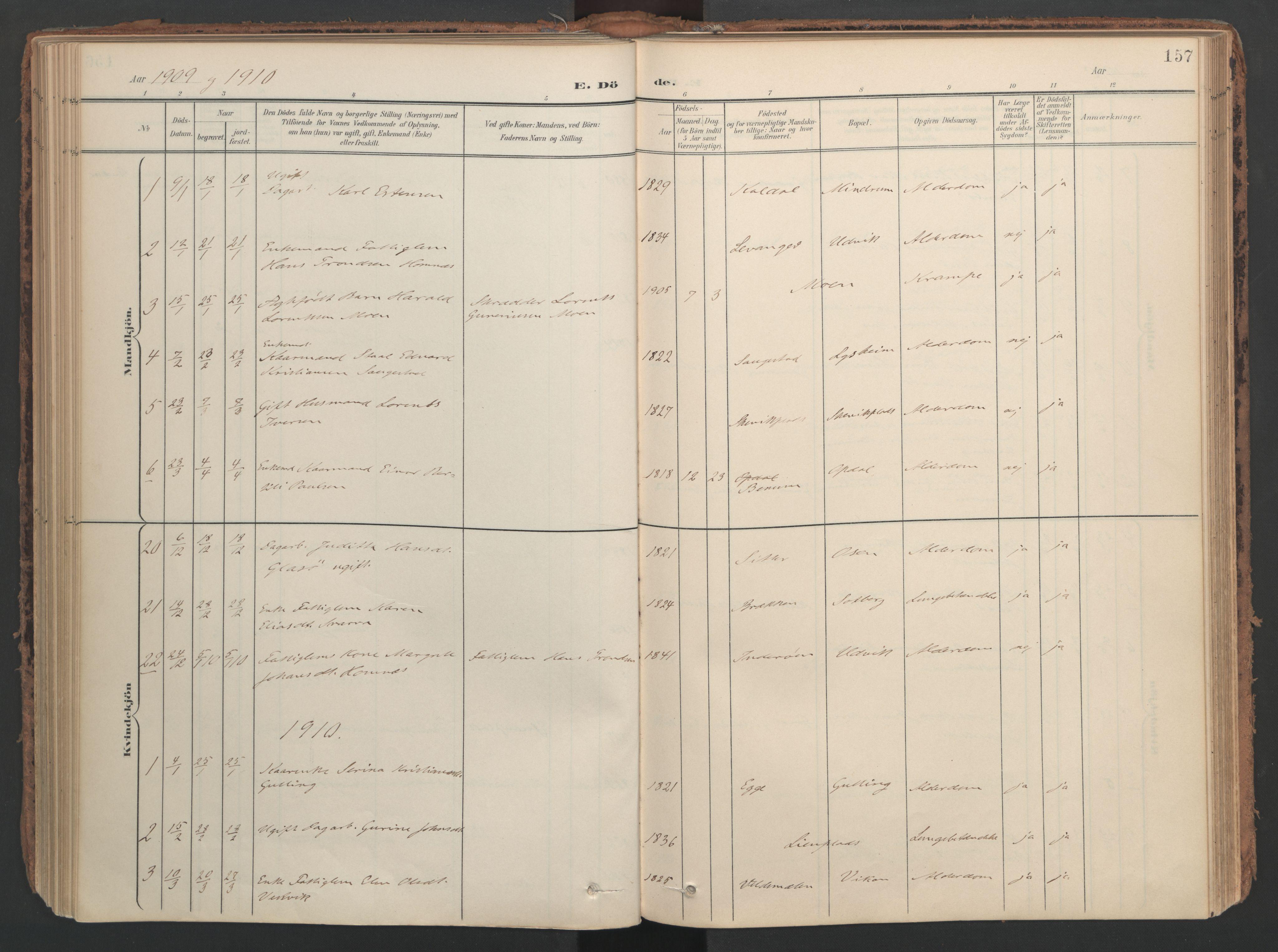 SAT, Ministerialprotokoller, klokkerbøker og fødselsregistre - Nord-Trøndelag, 741/L0397: Ministerialbok nr. 741A11, 1901-1911, s. 157