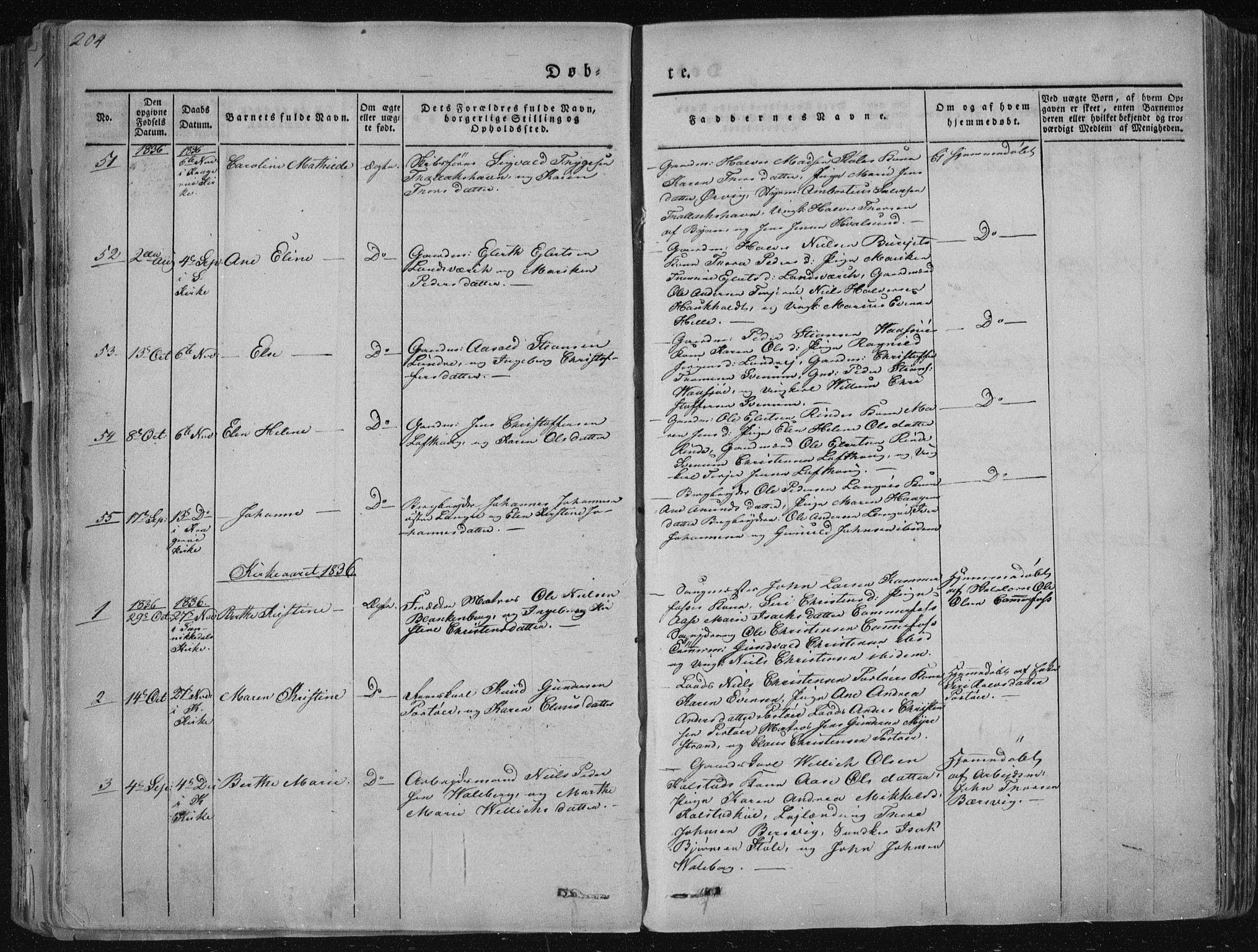 SAKO, Sannidal kirkebøker, F/Fa/L0006: Ministerialbok nr. 6, 1831-1847, s. 204