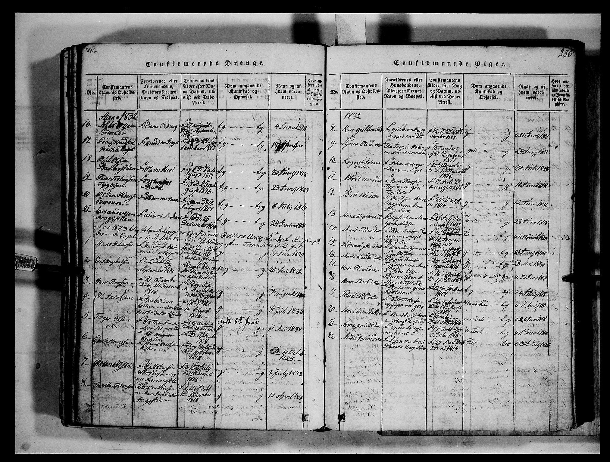 SAH, Fron prestekontor, H/Ha/Hab/L0002: Klokkerbok nr. 2, 1816-1850, s. 250