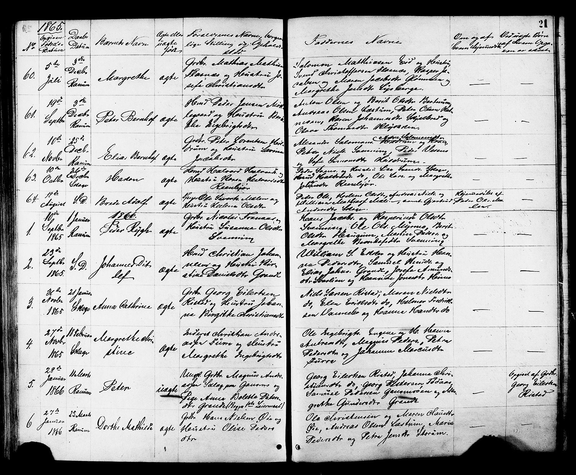 SAT, Ministerialprotokoller, klokkerbøker og fødselsregistre - Nord-Trøndelag, 764/L0553: Ministerialbok nr. 764A08, 1858-1880, s. 21