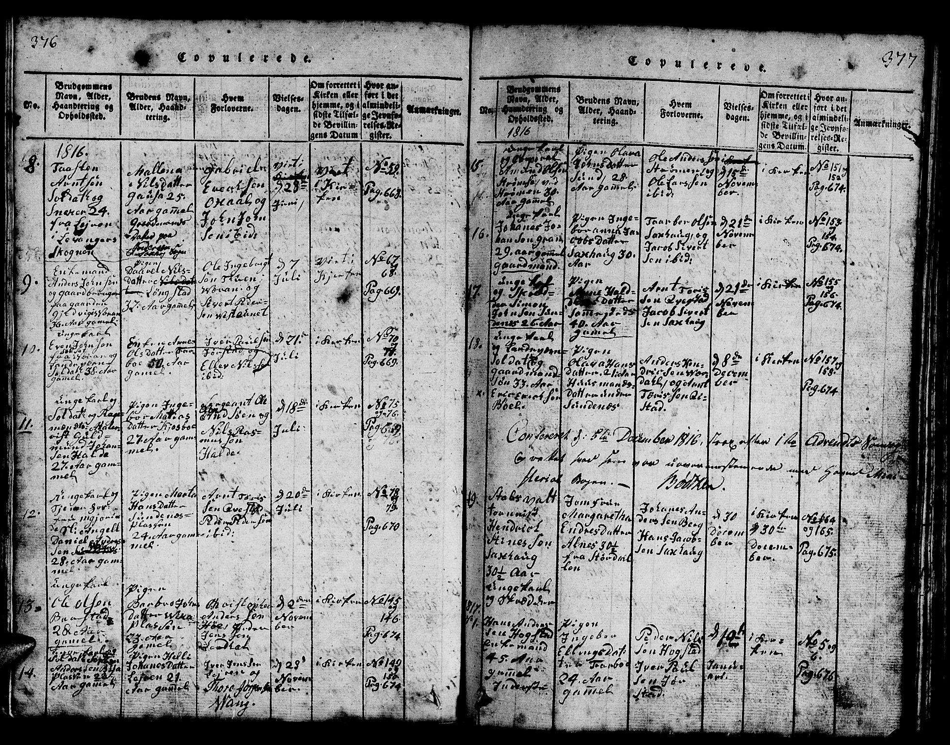 SAT, Ministerialprotokoller, klokkerbøker og fødselsregistre - Nord-Trøndelag, 730/L0298: Klokkerbok nr. 730C01, 1816-1849, s. 376-377