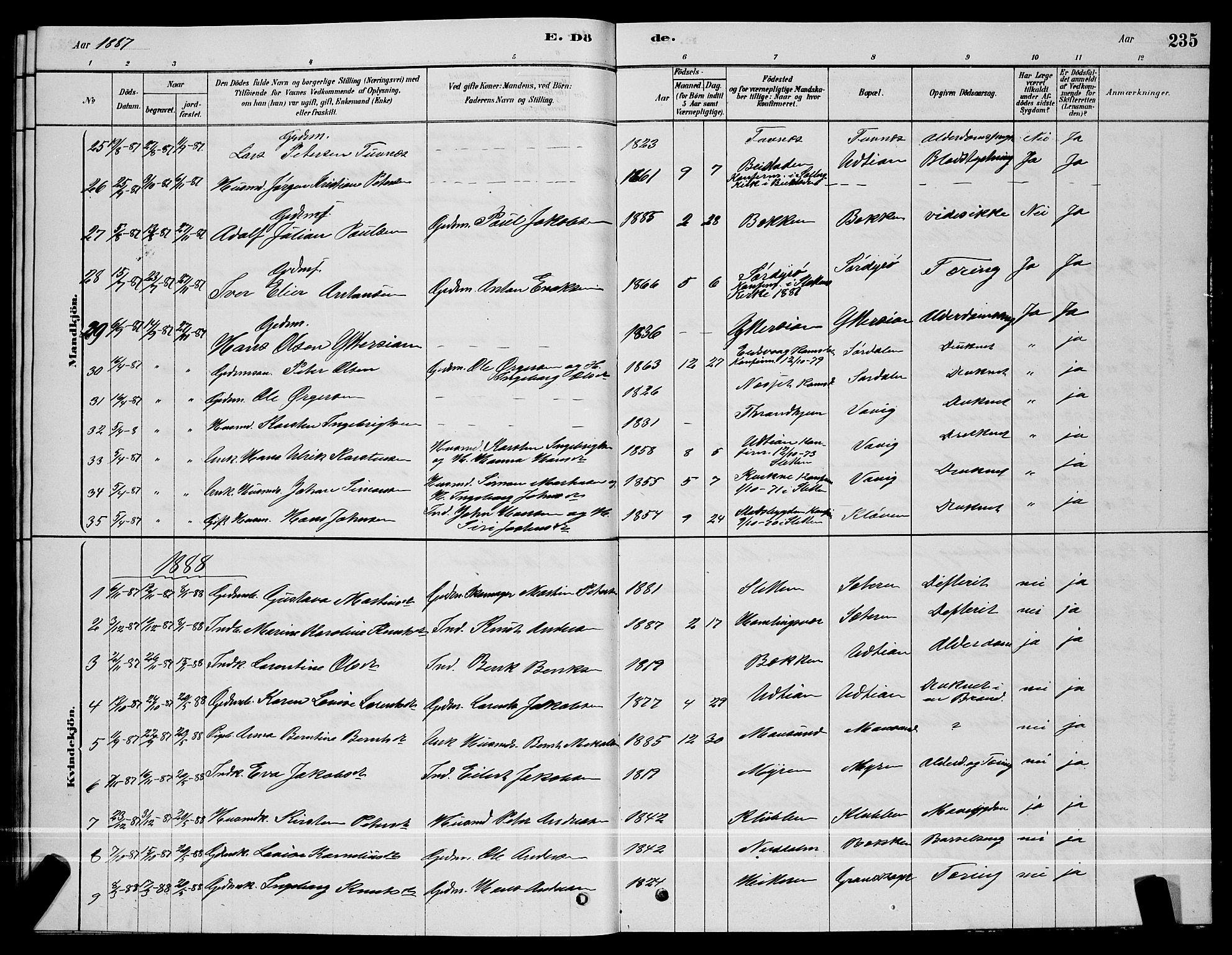 SAT, Ministerialprotokoller, klokkerbøker og fødselsregistre - Sør-Trøndelag, 640/L0585: Klokkerbok nr. 640C03, 1878-1891, s. 235