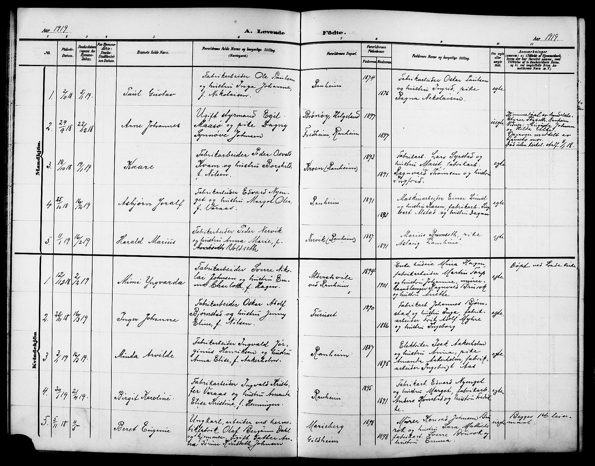 SAT, Ministerialprotokoller, klokkerbøker og fødselsregistre - Sør-Trøndelag, 615/L0400: Klokkerbok nr. 615C01, 1905-1921