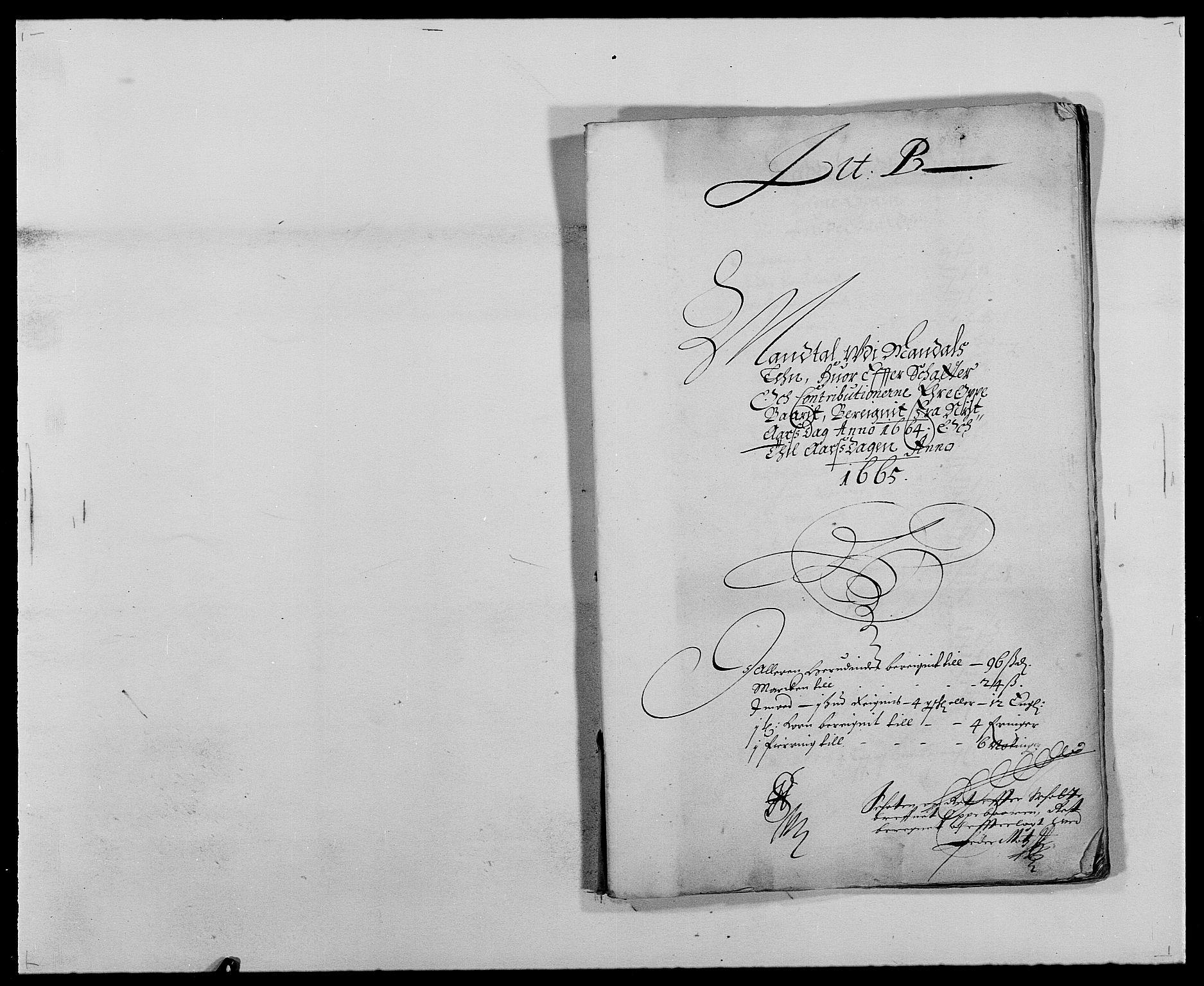 RA, Rentekammeret inntil 1814, Reviderte regnskaper, Fogderegnskap, R42/L2537: Mandal fogderi, 1664-1666, s. 11