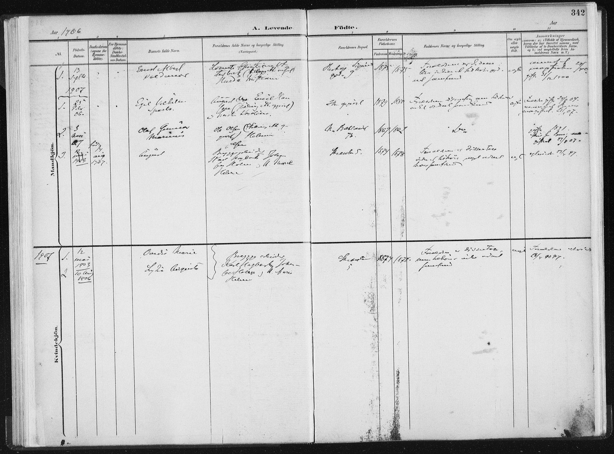 SAT, Ministerialprotokoller, klokkerbøker og fødselsregistre - Sør-Trøndelag, 604/L0200: Ministerialbok nr. 604A20II, 1901-1908, s. 342