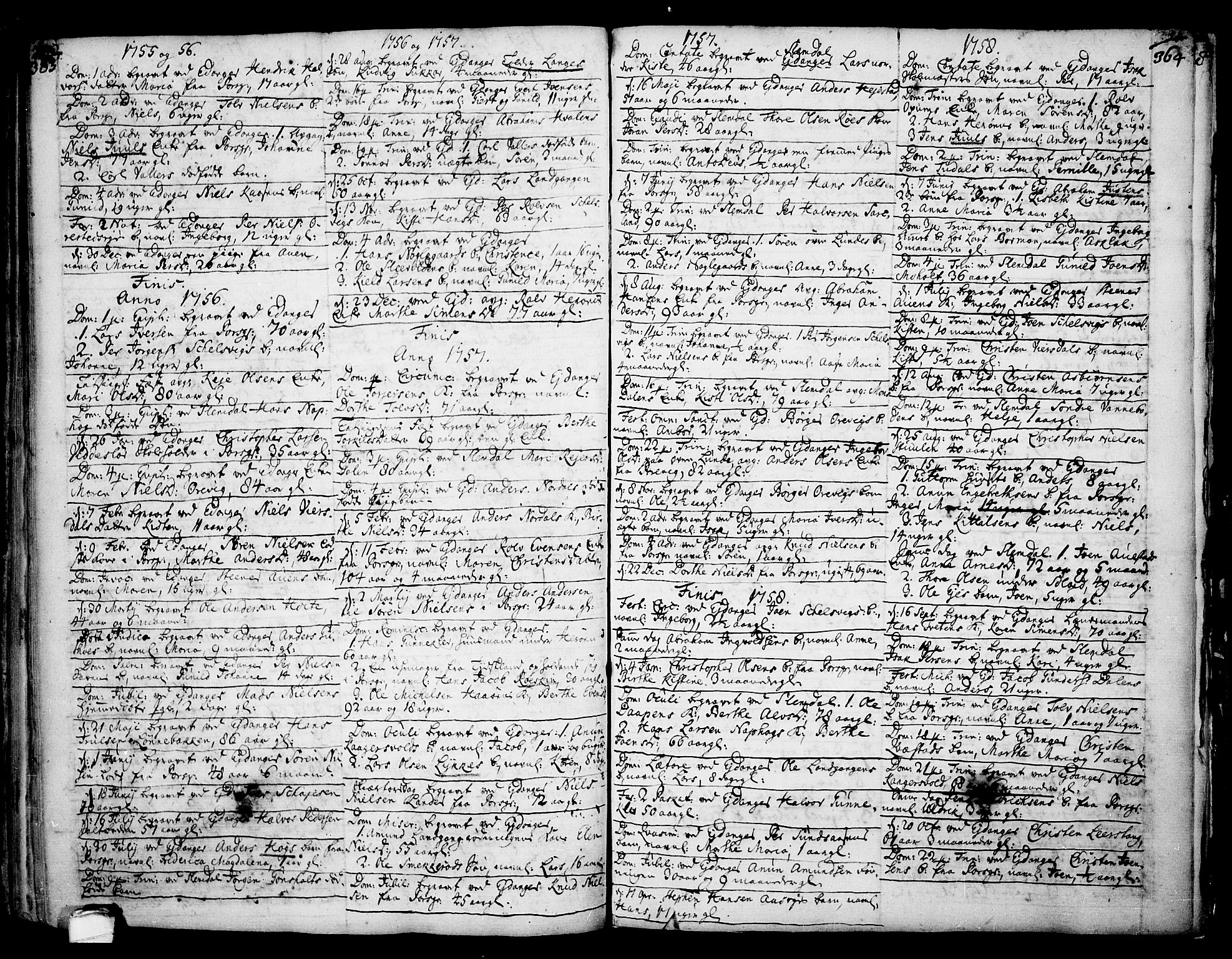 SAKO, Eidanger kirkebøker, F/Fa/L0004: Ministerialbok nr. 4, 1733-1759, s. 363-364