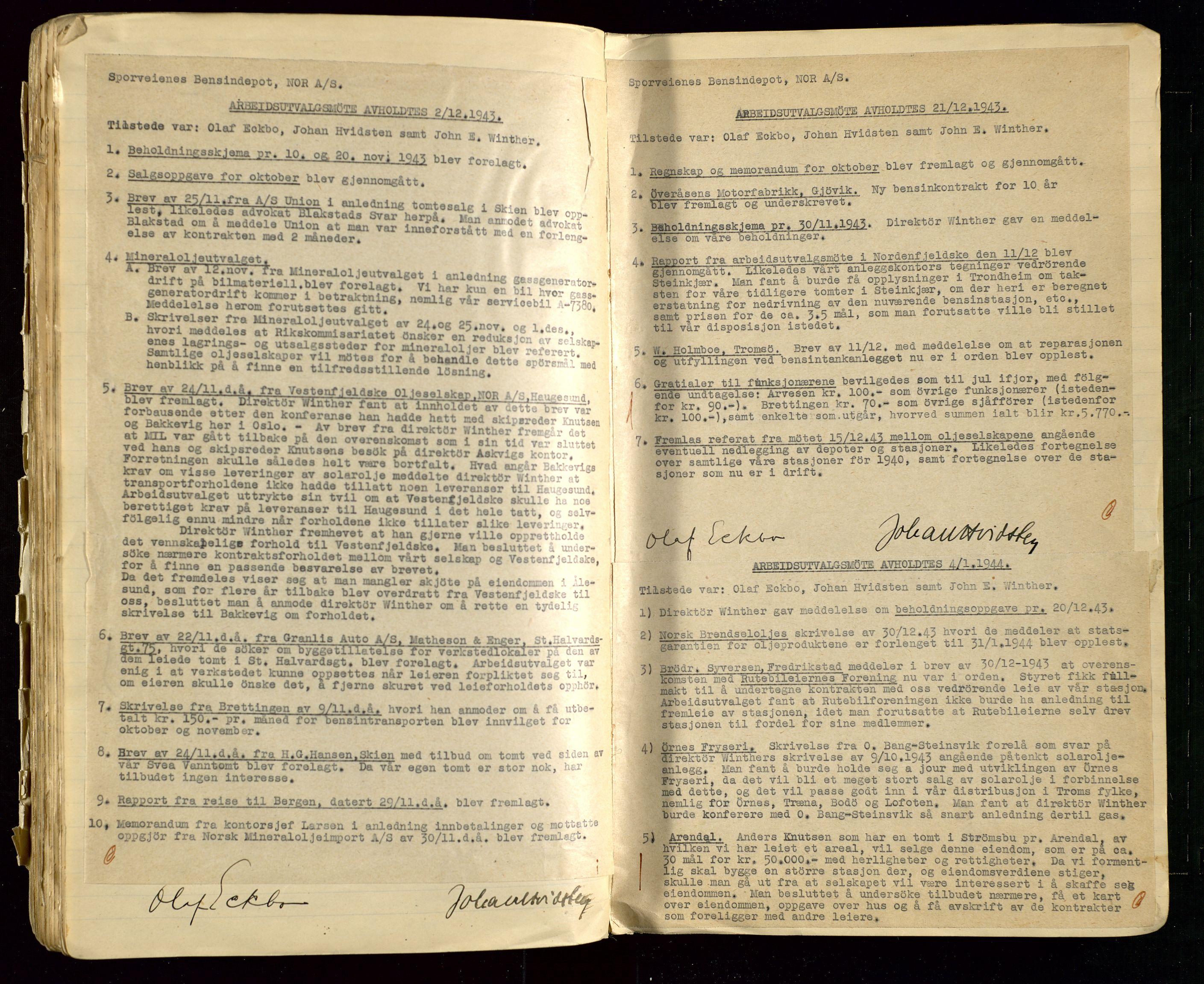SAST, PA 1514 - Sporveienes Bensindepot, Norsk Oljeraffineri A/S, A/L0002: Forhandlingsprotokoll Arbeidsutvaget, 1932-1946, s. 137