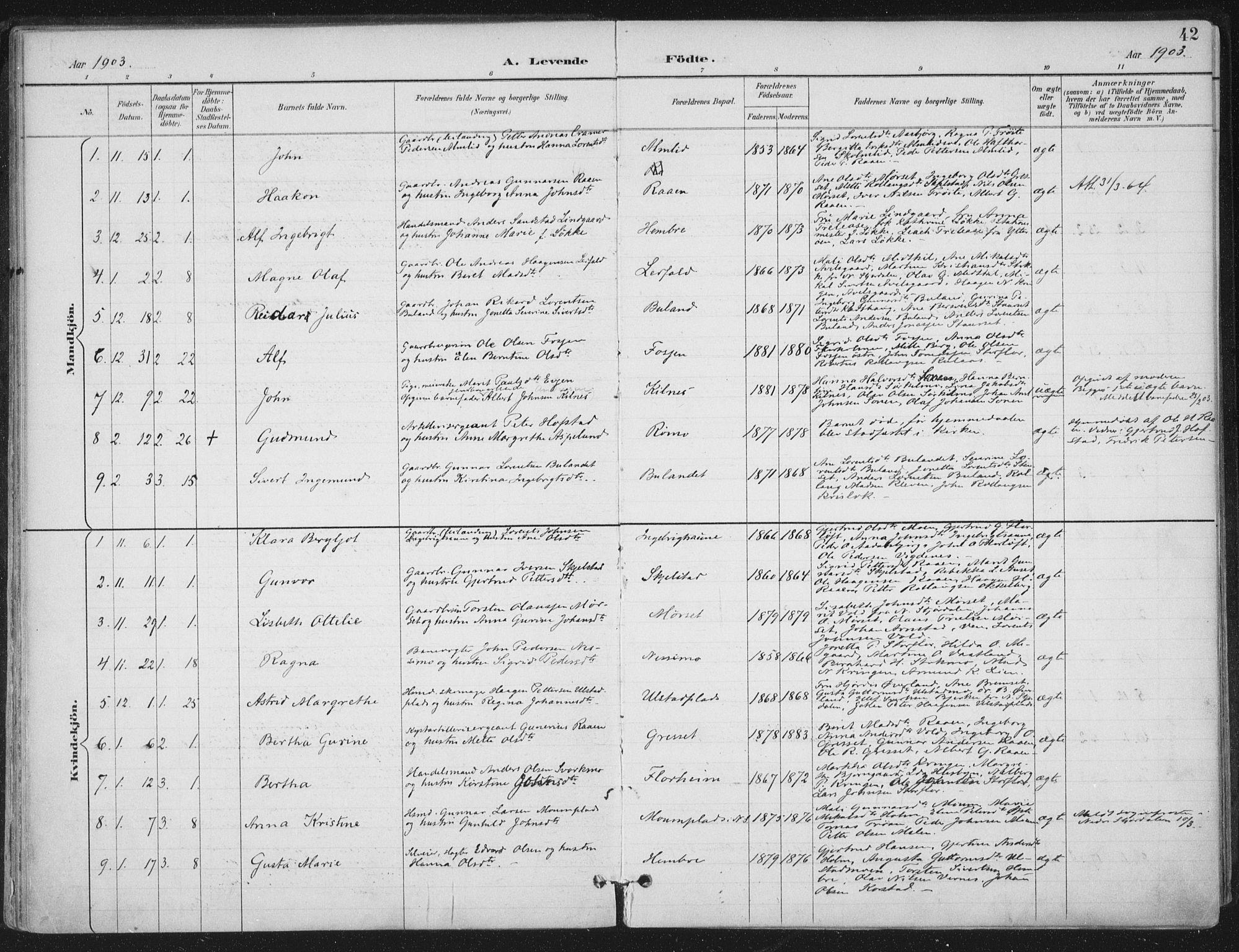 SAT, Ministerialprotokoller, klokkerbøker og fødselsregistre - Nord-Trøndelag, 703/L0031: Ministerialbok nr. 703A04, 1893-1914, s. 42