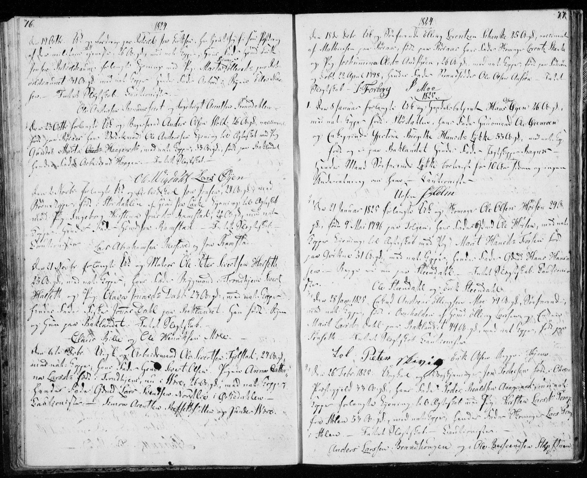 SAT, Ministerialprotokoller, klokkerbøker og fødselsregistre - Sør-Trøndelag, 606/L0295: Lysningsprotokoll nr. 606A10, 1815-1833, s. 76-77