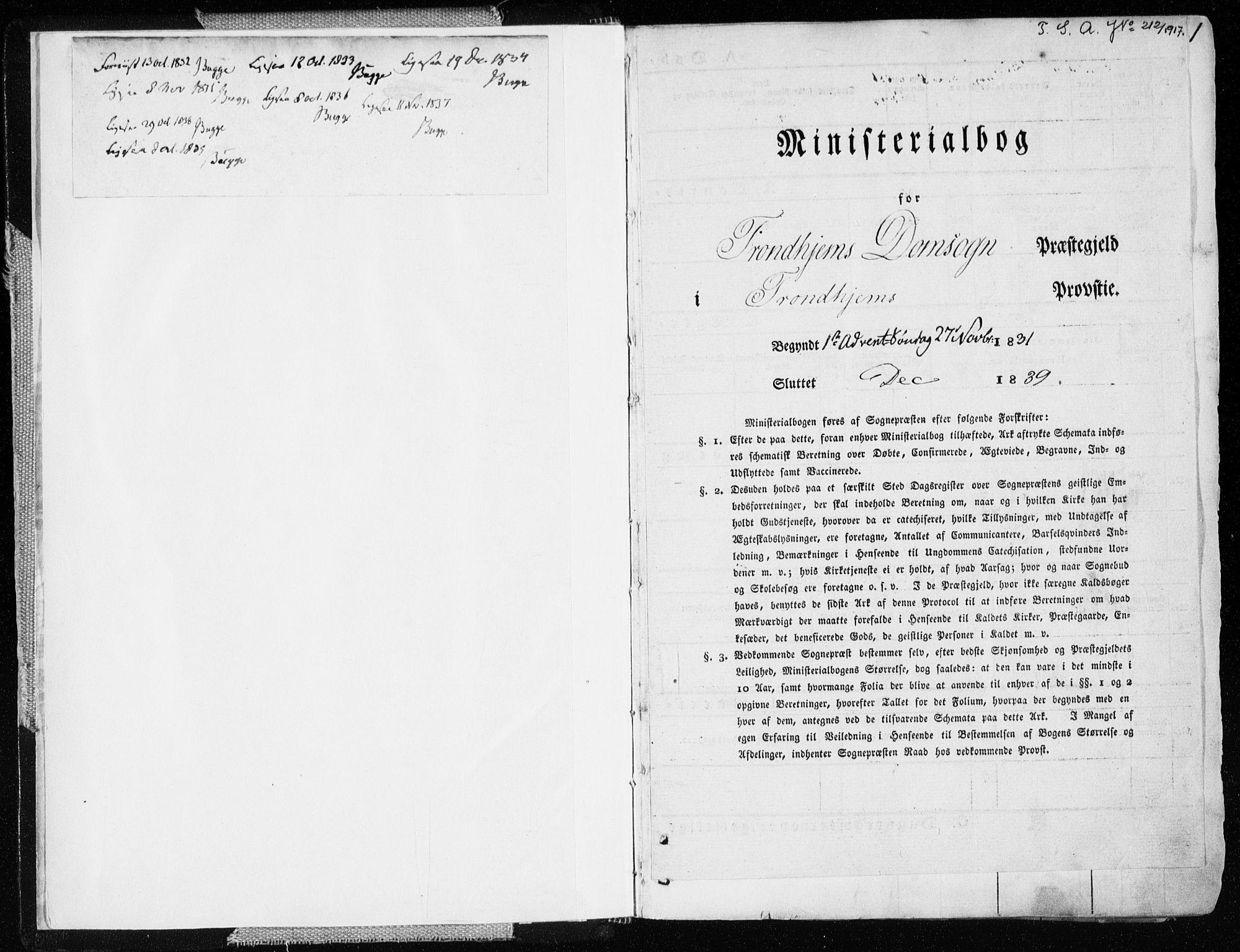 SAT, Ministerialprotokoller, klokkerbøker og fødselsregistre - Sør-Trøndelag, 601/L0047: Ministerialbok nr. 601A15, 1831-1839