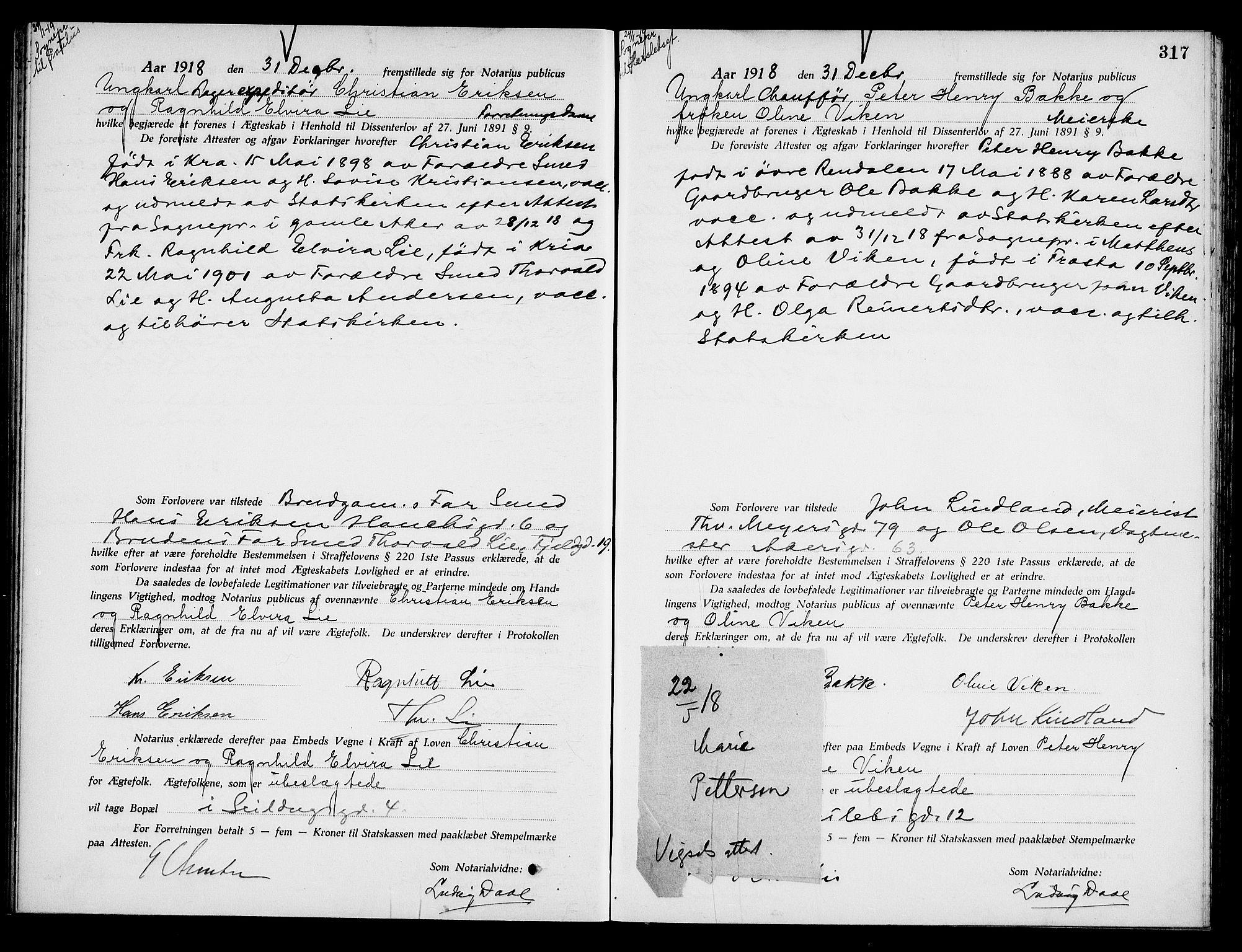 SAO, Oslo byfogd avd. I, L/Lb/Lbb/L0012: Notarialprotokoll, rekke II: Vigsler, 1918-1919, s. 316b-317a
