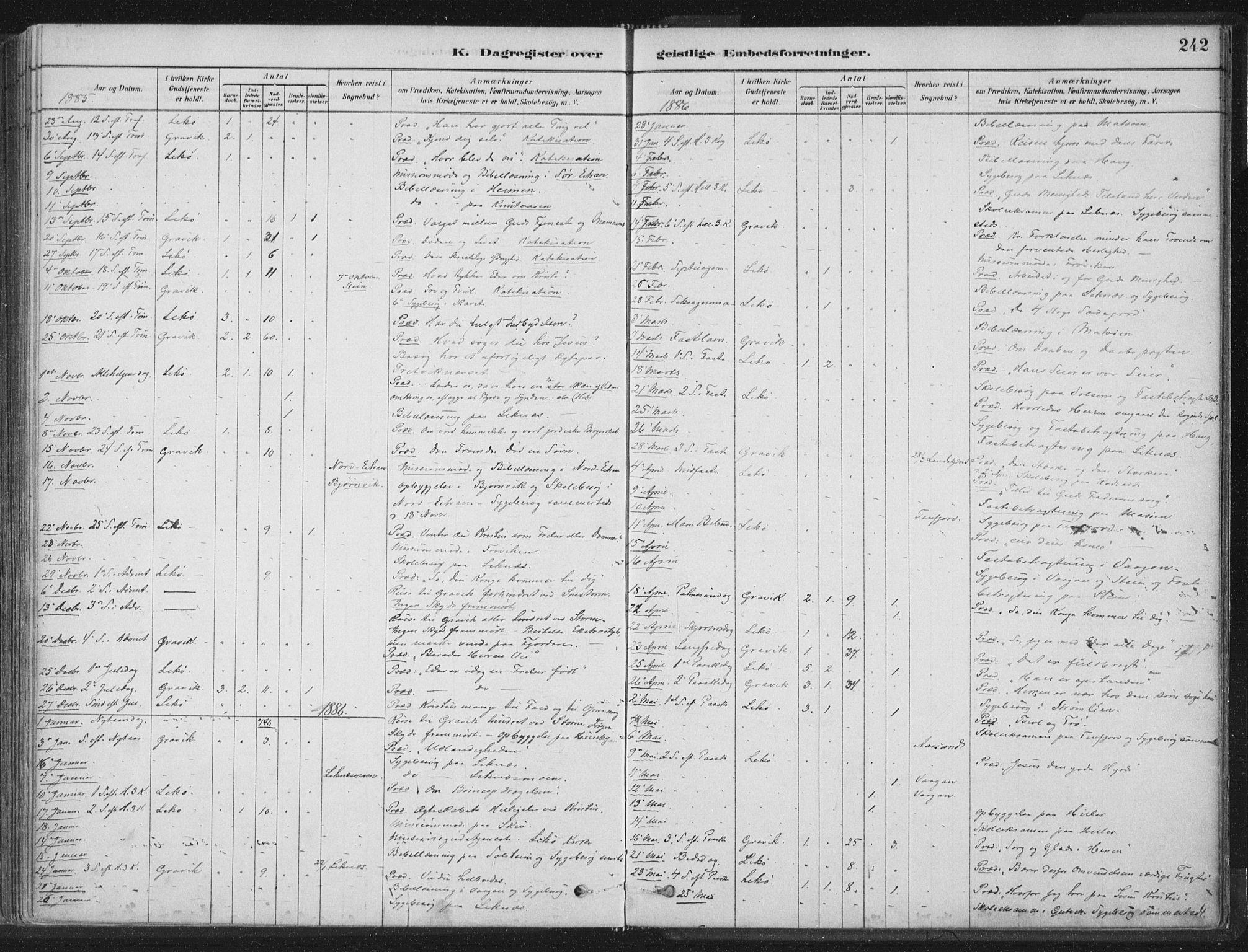 SAT, Ministerialprotokoller, klokkerbøker og fødselsregistre - Nord-Trøndelag, 788/L0697: Ministerialbok nr. 788A04, 1878-1902, s. 242