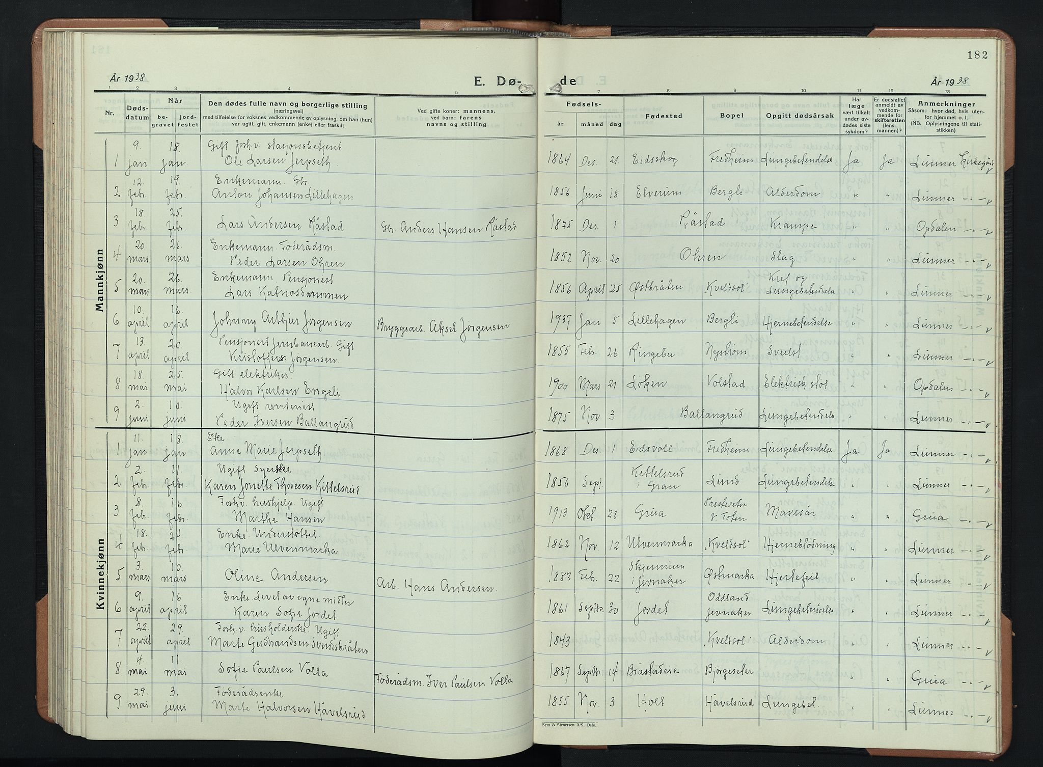 SAH, Lunner prestekontor, H/Ha/Hab/L0003: Klokkerbok nr. 3, 1933-1945, s. 182