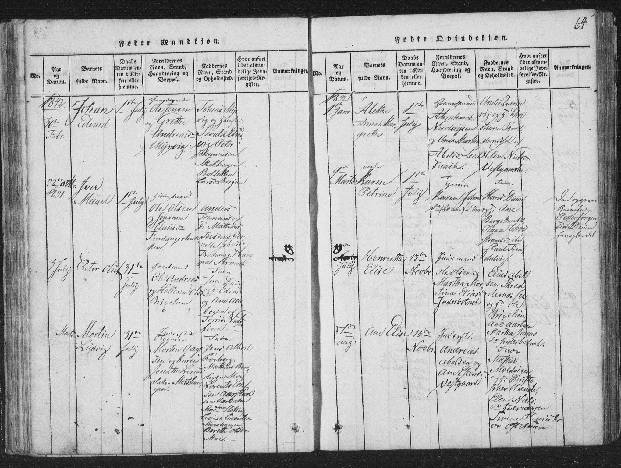 SAT, Ministerialprotokoller, klokkerbøker og fødselsregistre - Nord-Trøndelag, 773/L0613: Ministerialbok nr. 773A04, 1815-1845, s. 64
