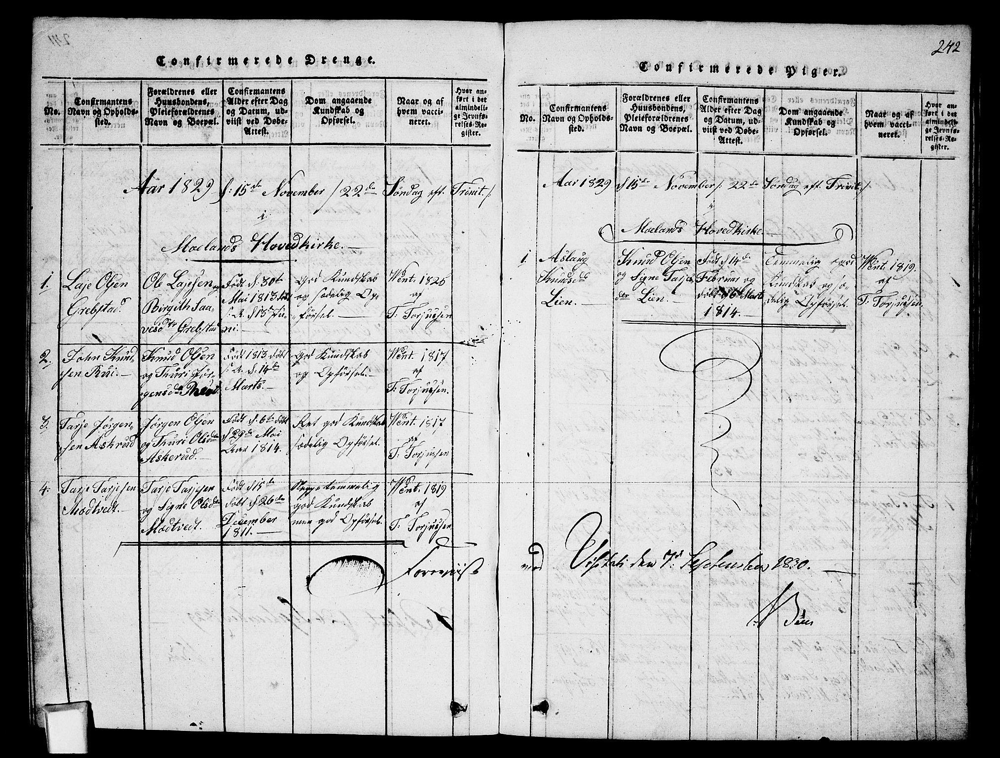 SAKO, Fyresdal kirkebøker, G/Ga/L0002: Klokkerbok nr. I 2, 1815-1857, s. 242