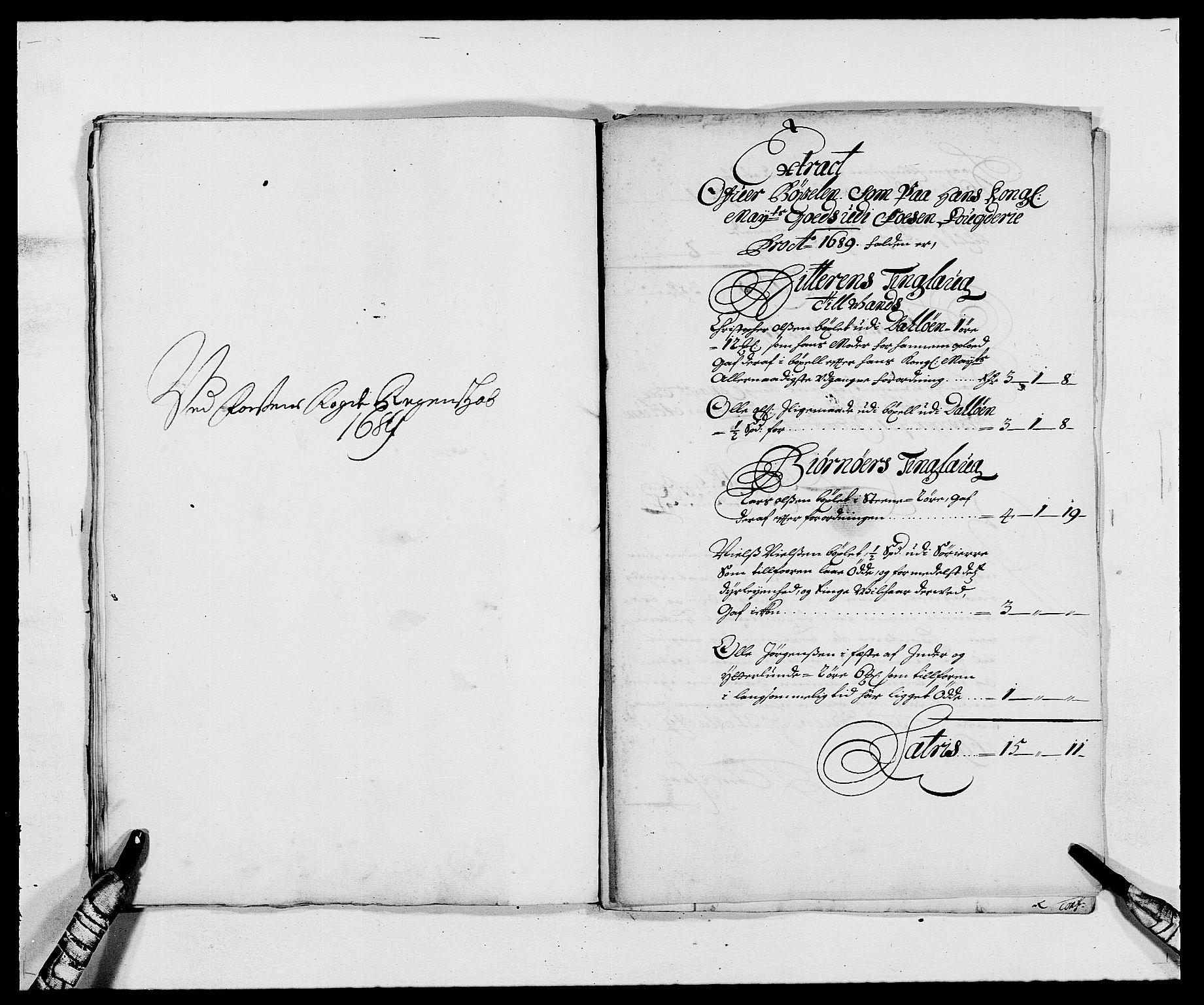 RA, Rentekammeret inntil 1814, Reviderte regnskaper, Fogderegnskap, R57/L3847: Fogderegnskap Fosen, 1689, s. 115