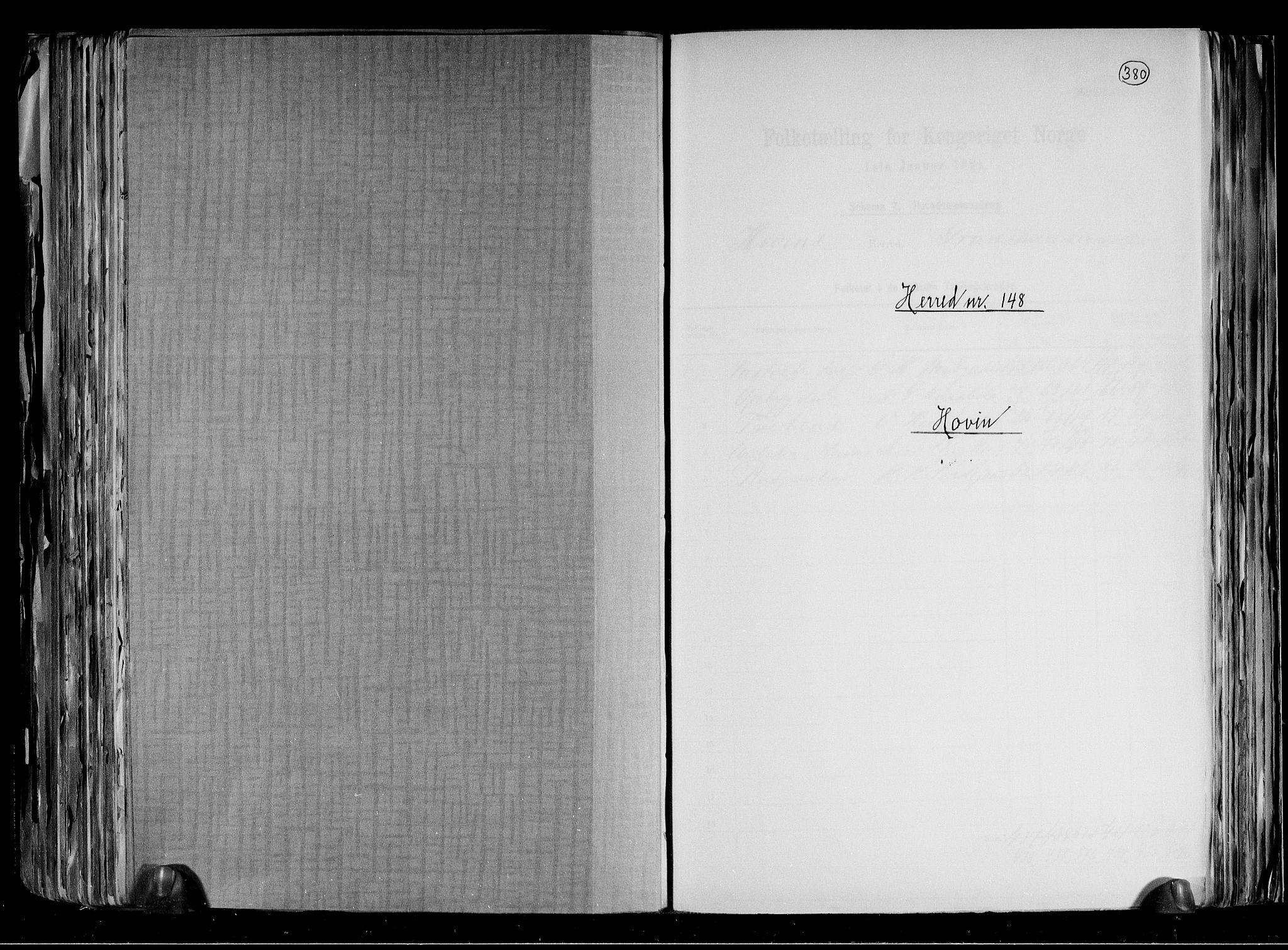 RA, Folketelling 1891 for 0825 Hovin herred, 1891, s. 1
