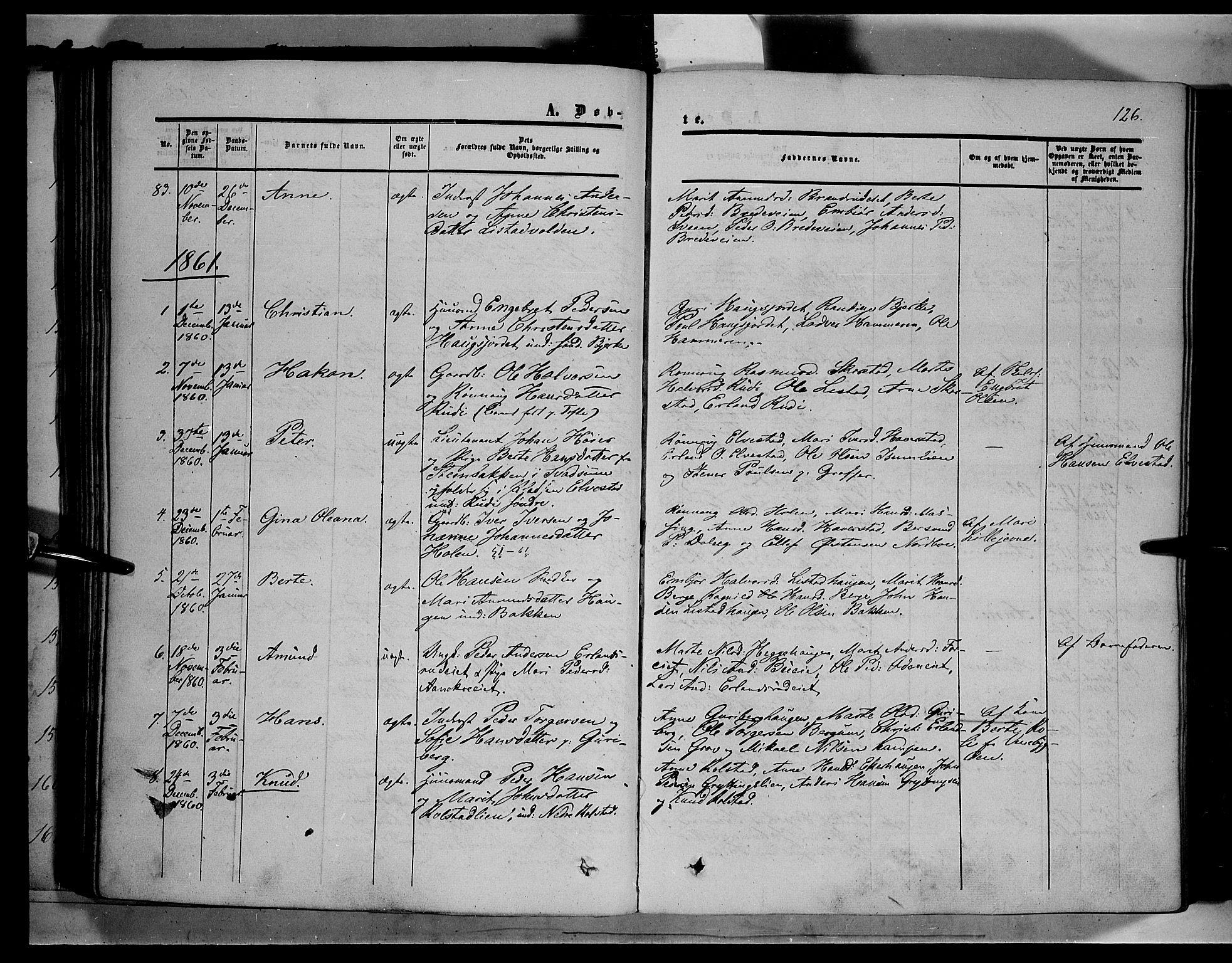SAH, Sør-Fron prestekontor, H/Ha/Haa/L0001: Ministerialbok nr. 1, 1849-1863, s. 126