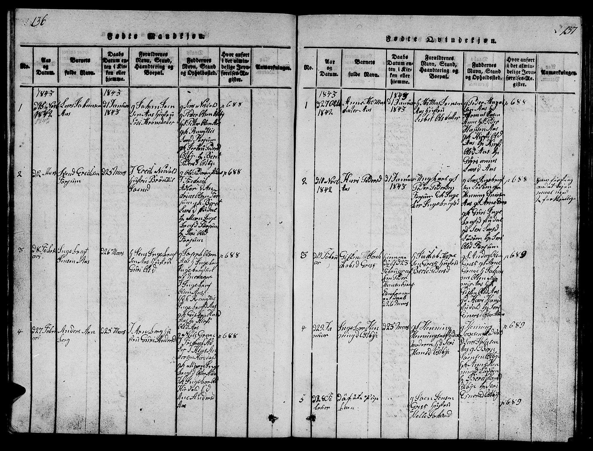 SAT, Ministerialprotokoller, klokkerbøker og fødselsregistre - Sør-Trøndelag, 698/L1164: Klokkerbok nr. 698C01, 1816-1861, s. 136-137