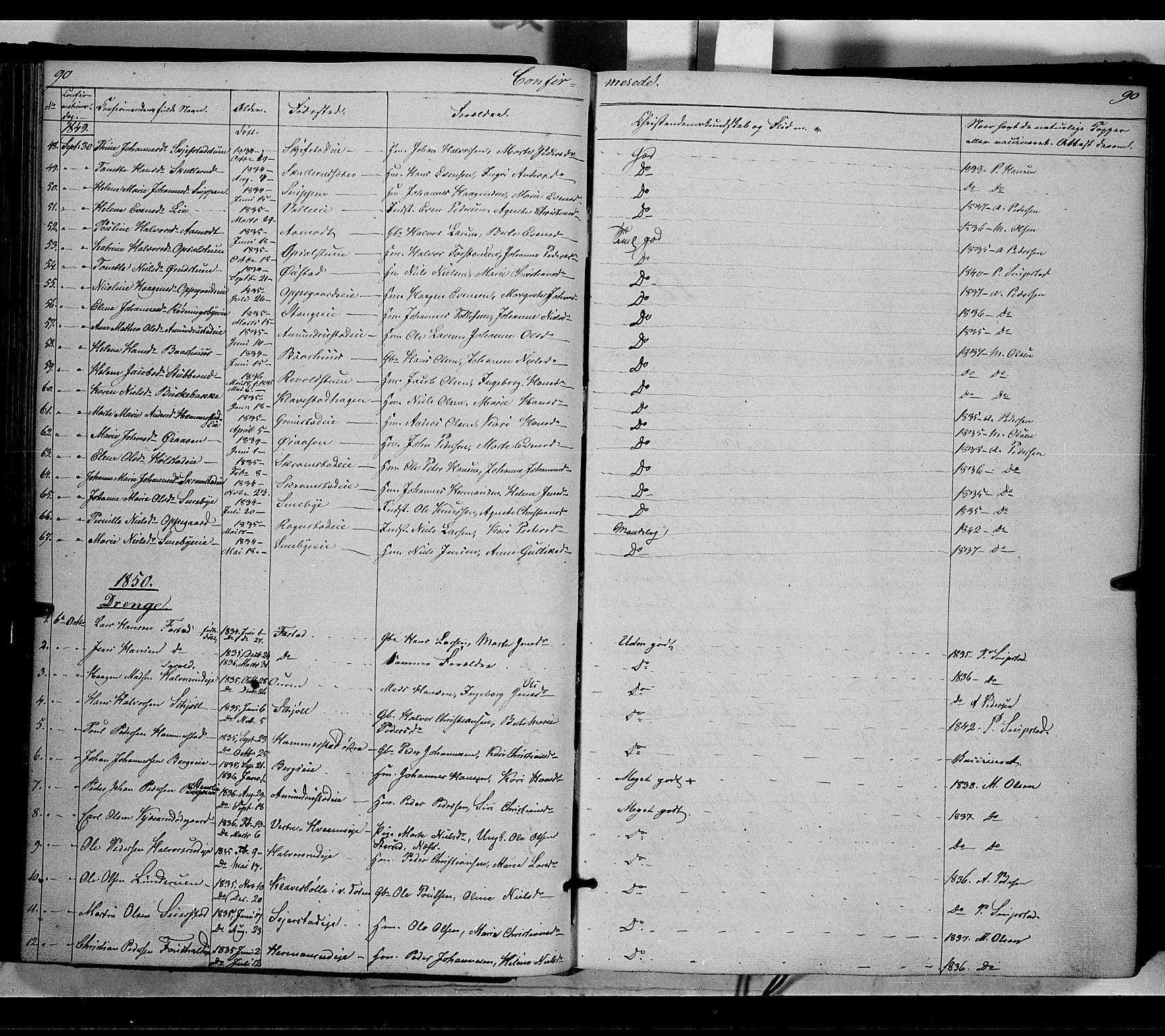 SAH, Østre Toten prestekontor, Ministerialbok nr. 3, 1848-1856, s. 90