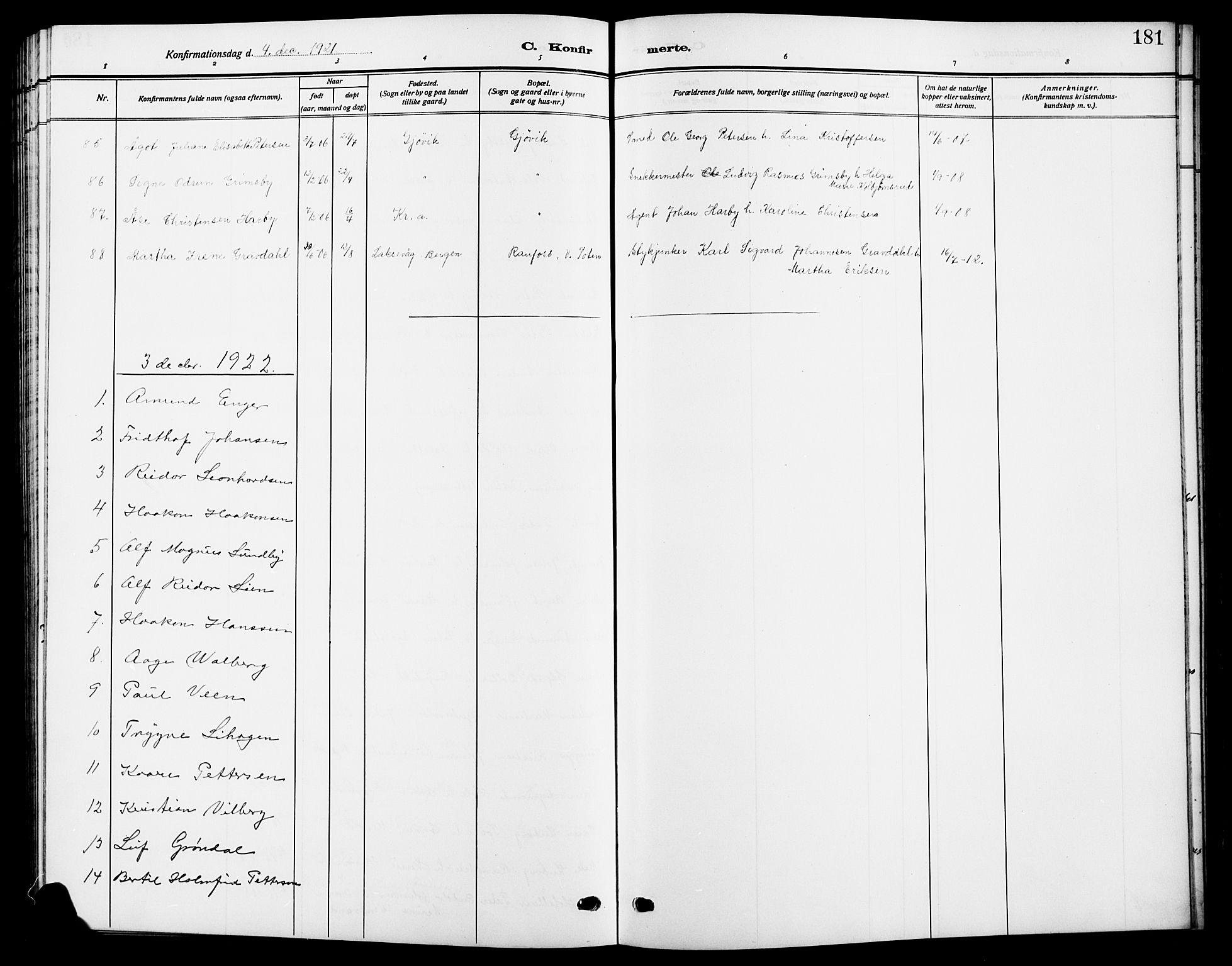 SAH, Vardal prestekontor, H/Ha/Hab/L0014: Klokkerbok nr. 14, 1911-1922, s. 181