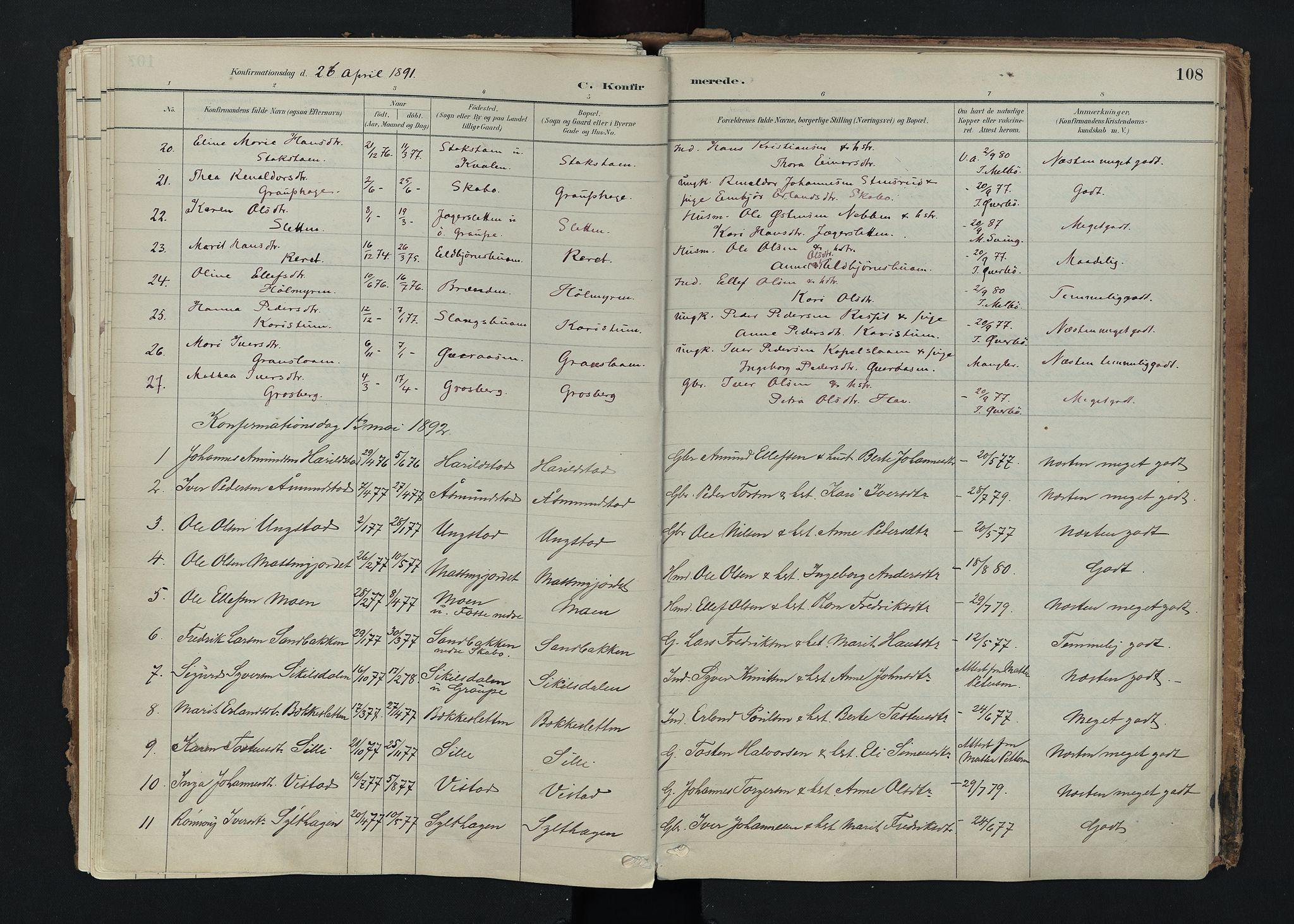 SAH, Nord-Fron prestekontor, Ministerialbok nr. 5, 1884-1914, s. 108