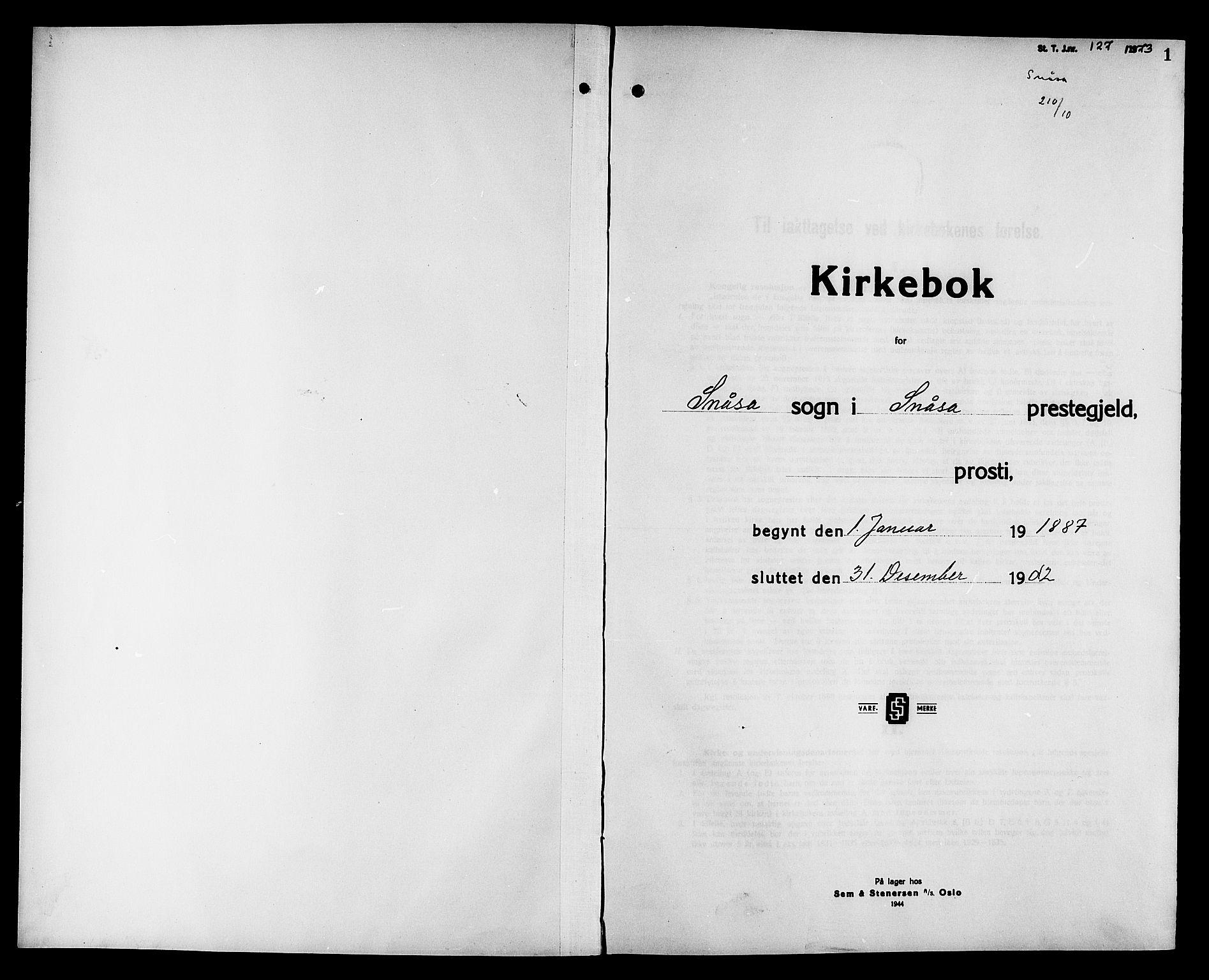 SAT, Ministerialprotokoller, klokkerbøker og fødselsregistre - Nord-Trøndelag, 749/L0487: Ministerialbok nr. 749D03, 1887-1902, s. 1