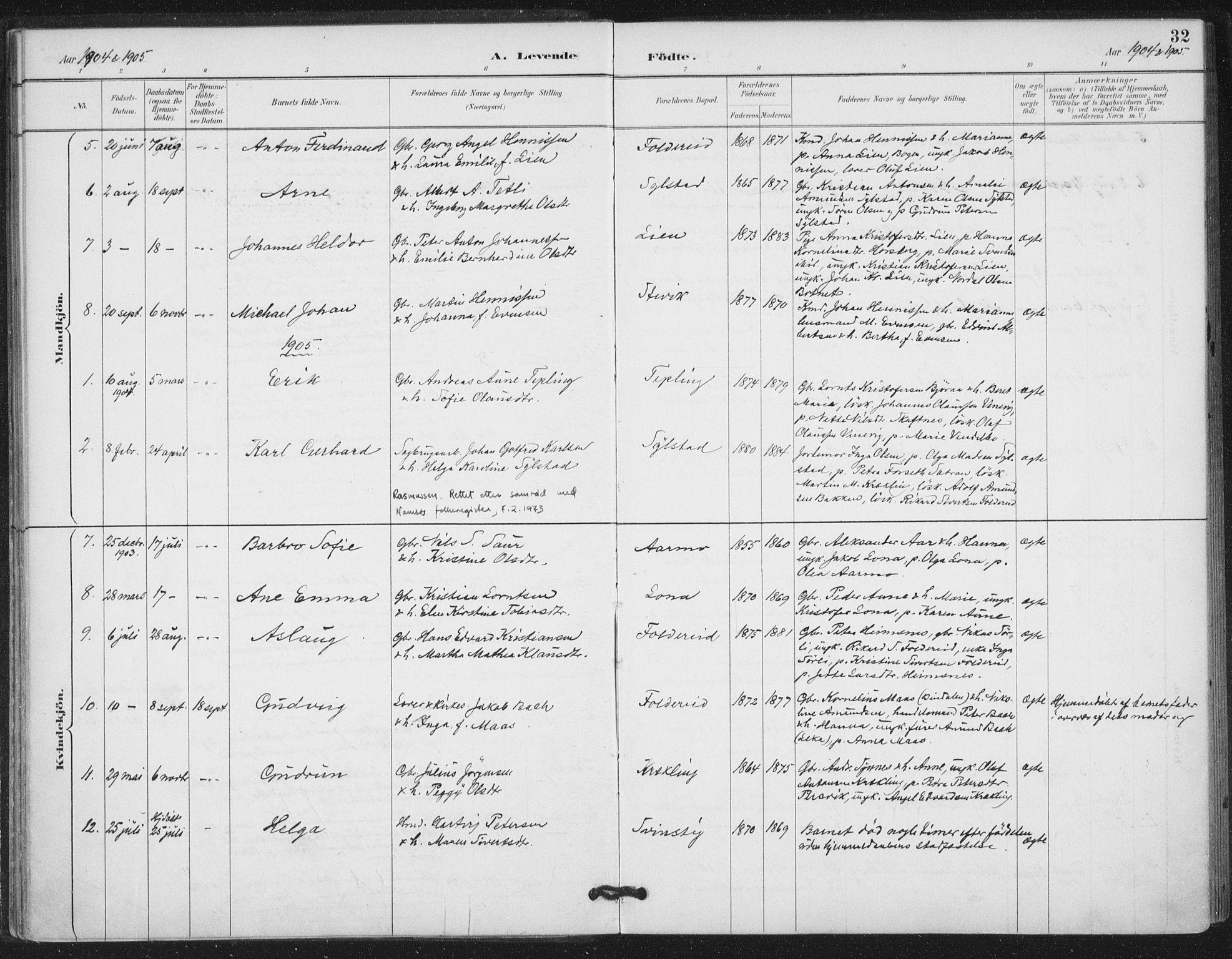 SAT, Ministerialprotokoller, klokkerbøker og fødselsregistre - Nord-Trøndelag, 783/L0660: Ministerialbok nr. 783A02, 1886-1918, s. 32