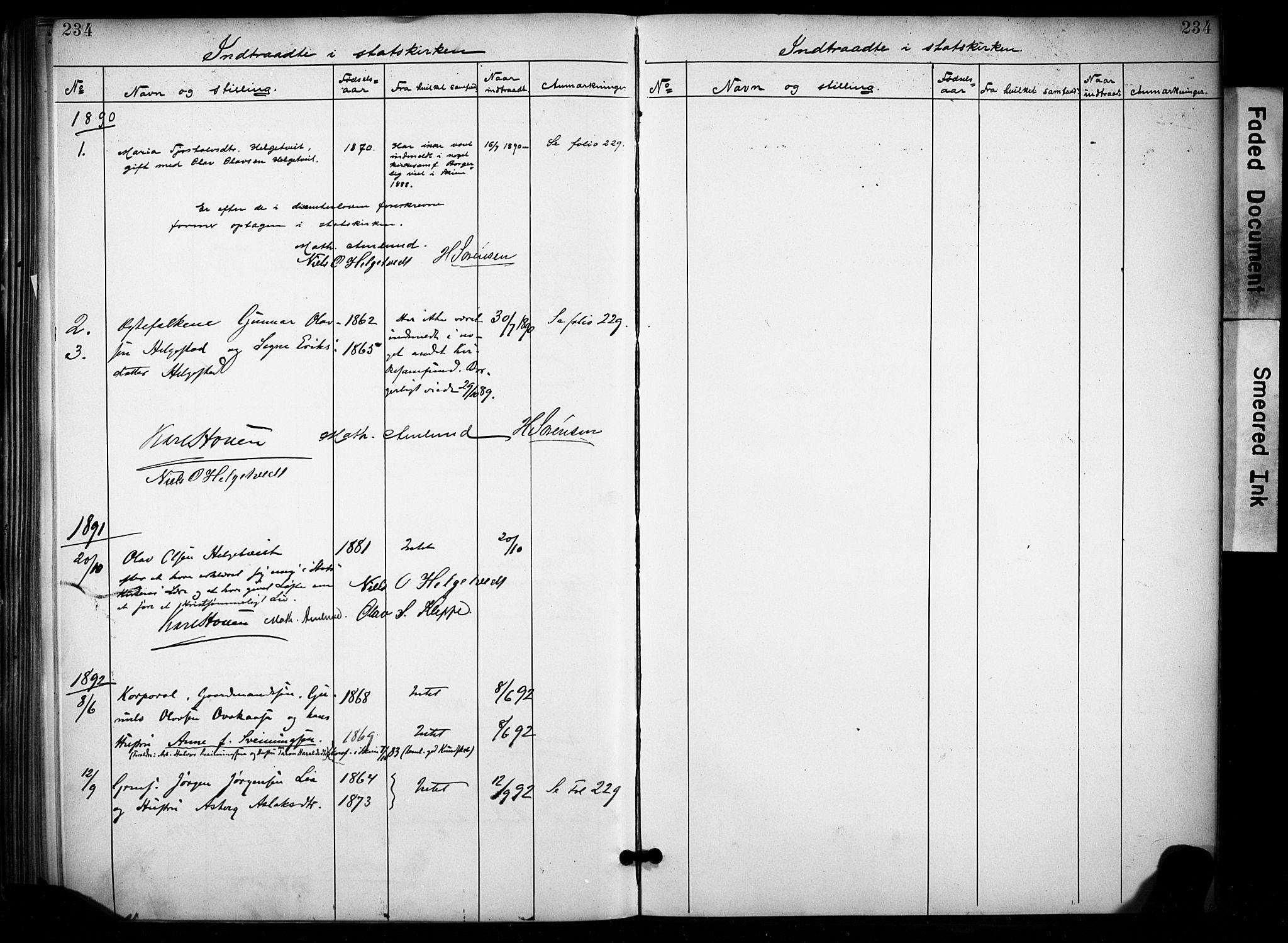 SAKO, Lunde kirkebøker, F/Fa/L0002: Ministerialbok nr. I 2, 1884-1892, s. 234